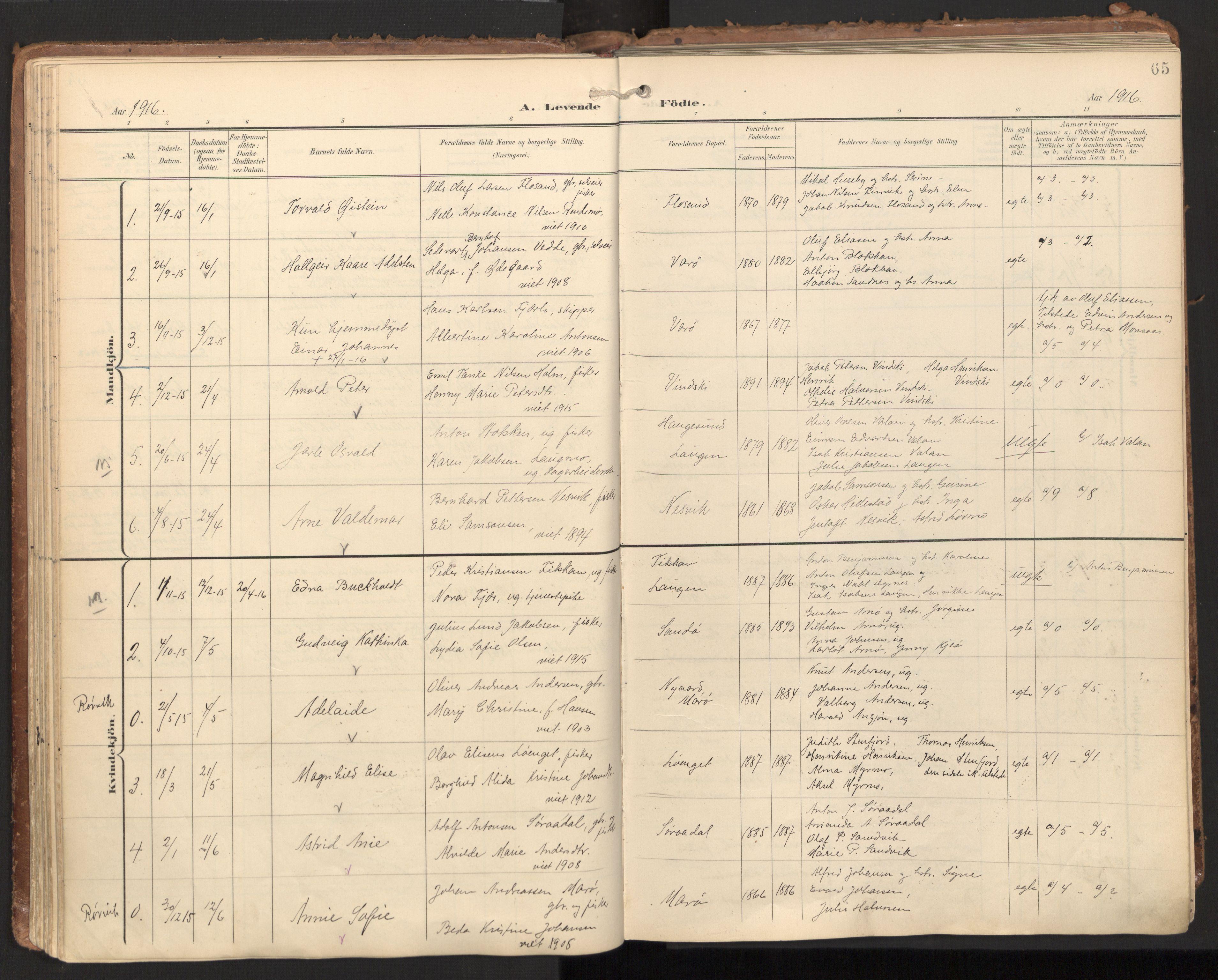 SAT, Ministerialprotokoller, klokkerbøker og fødselsregistre - Nord-Trøndelag, 784/L0677: Ministerialbok nr. 784A12, 1900-1920, s. 65