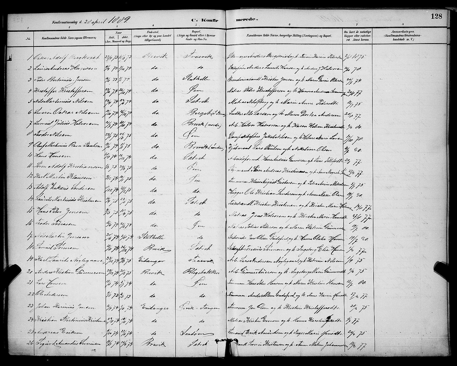 SAKO, Brevik kirkebøker, G/Ga/L0004: Klokkerbok nr. 4, 1882-1900, s. 128