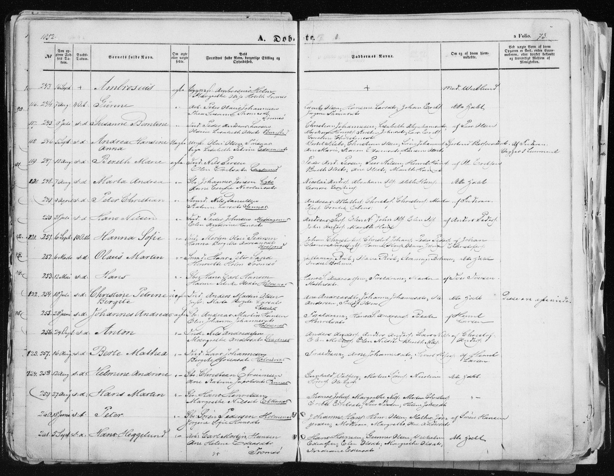 SATØ, Tromsø sokneprestkontor/stiftsprosti/domprosti, G/Ga/L0010kirke: Ministerialbok nr. 10, 1848-1855, s. 73