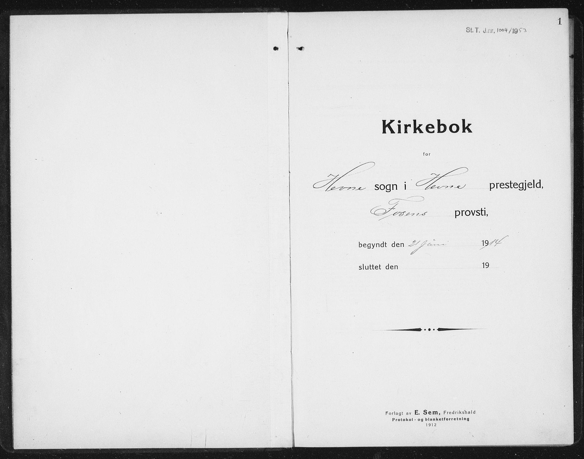 SAT, Ministerialprotokoller, klokkerbøker og fødselsregistre - Sør-Trøndelag, 630/L0506: Klokkerbok nr. 630C04, 1914-1933, s. 1