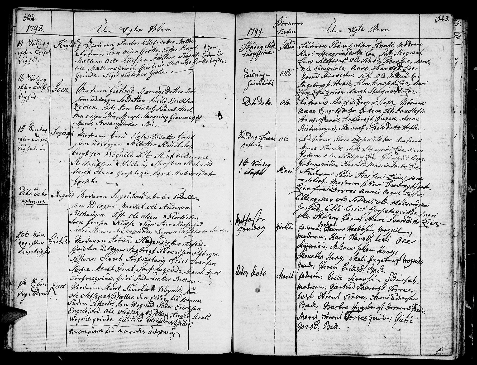 SAT, Ministerialprotokoller, klokkerbøker og fødselsregistre - Sør-Trøndelag, 678/L0893: Ministerialbok nr. 678A03, 1792-1805, s. 522-523
