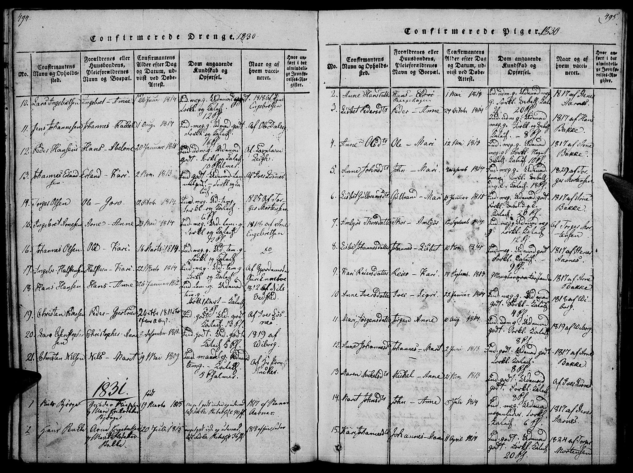 SAH, Ringebu prestekontor, Ministerialbok nr. 4, 1821-1839, s. 494-495