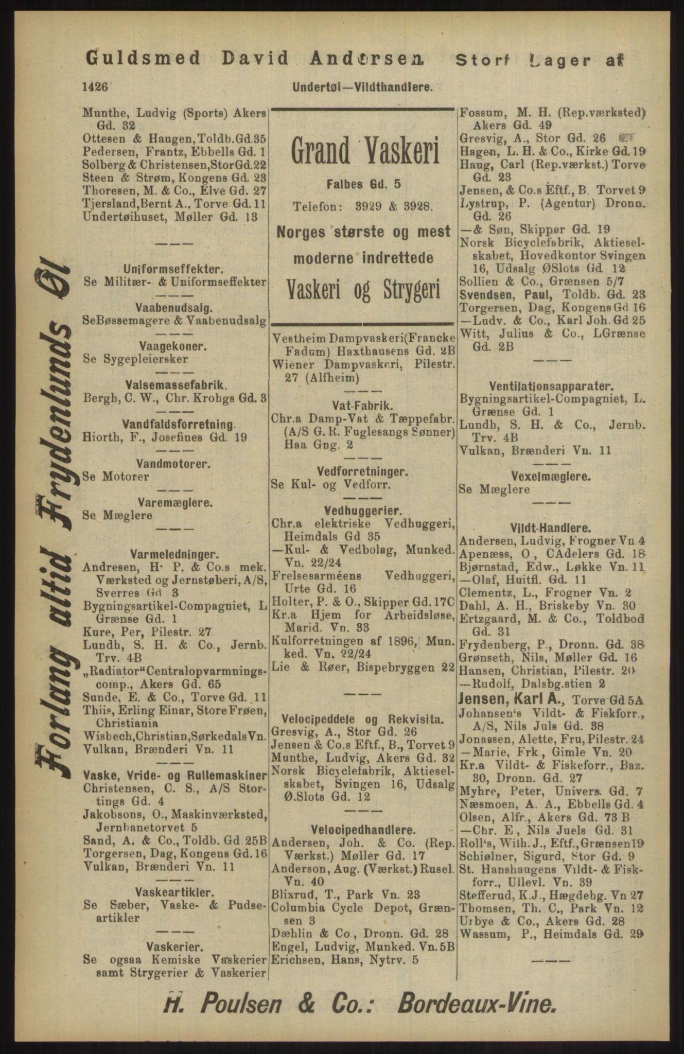 RA, Kristiania adressebok (publikasjon)*, 1904, s. 1426