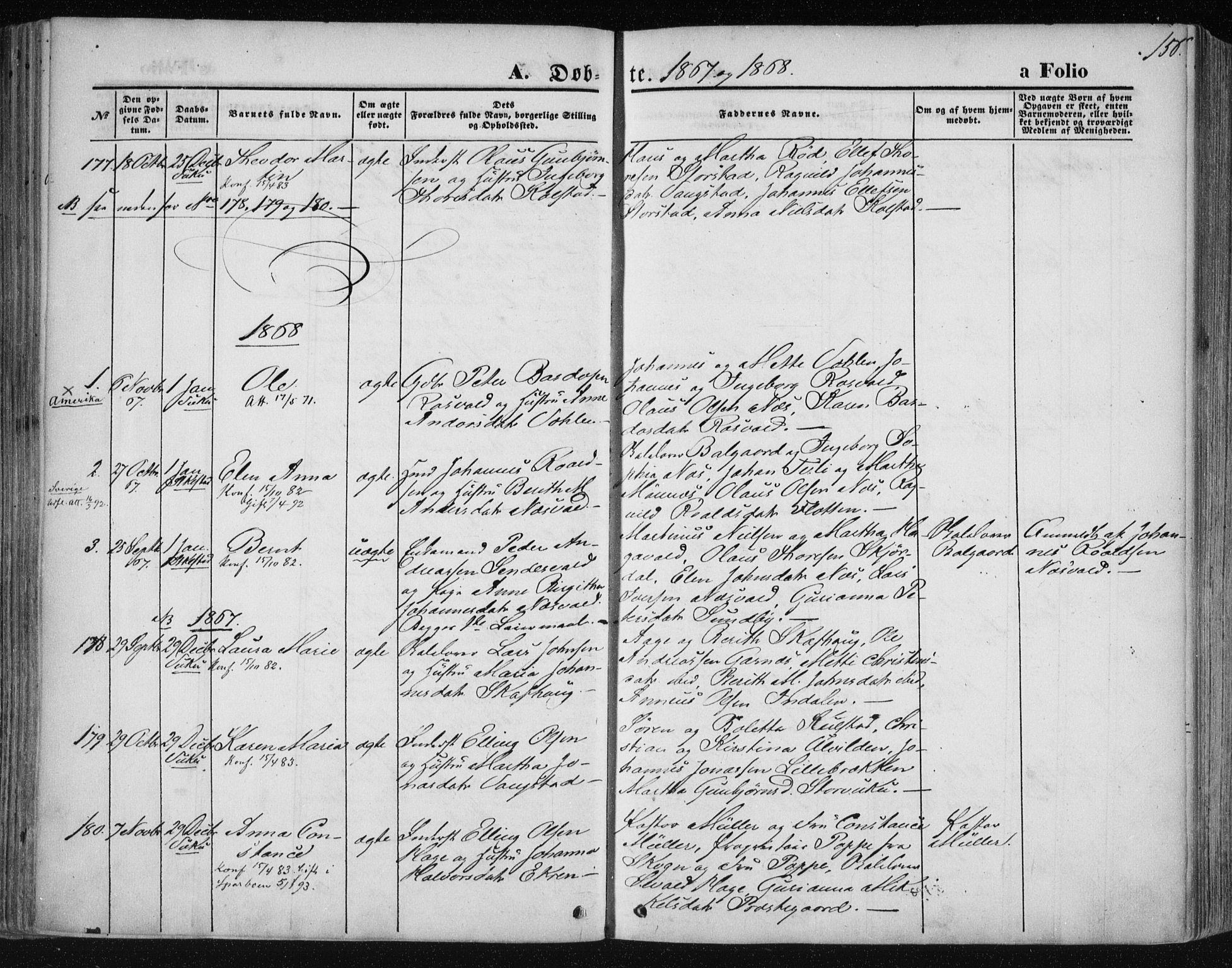 SAT, Ministerialprotokoller, klokkerbøker og fødselsregistre - Nord-Trøndelag, 723/L0241: Ministerialbok nr. 723A10, 1860-1869, s. 156