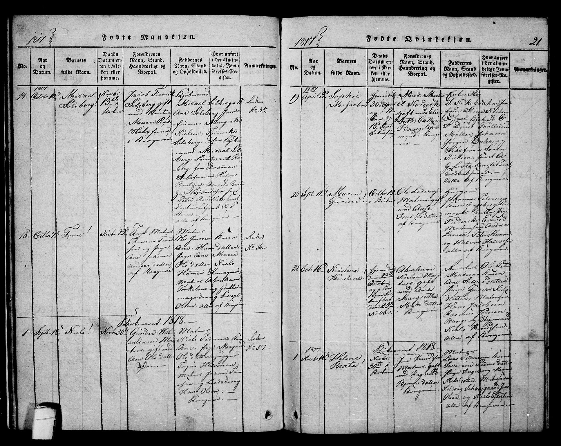 SAKO, Kragerø kirkebøker, F/Fa/L0004: Ministerialbok nr. 4, 1814-1831, s. 21