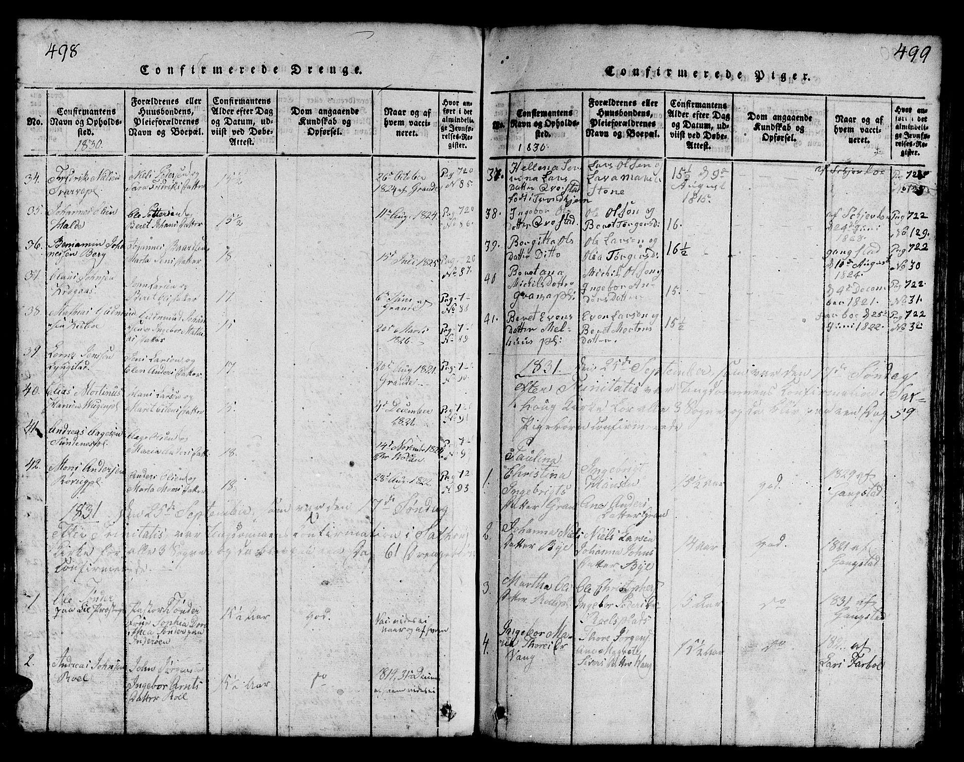 SAT, Ministerialprotokoller, klokkerbøker og fødselsregistre - Nord-Trøndelag, 730/L0298: Klokkerbok nr. 730C01, 1816-1849, s. 498-499