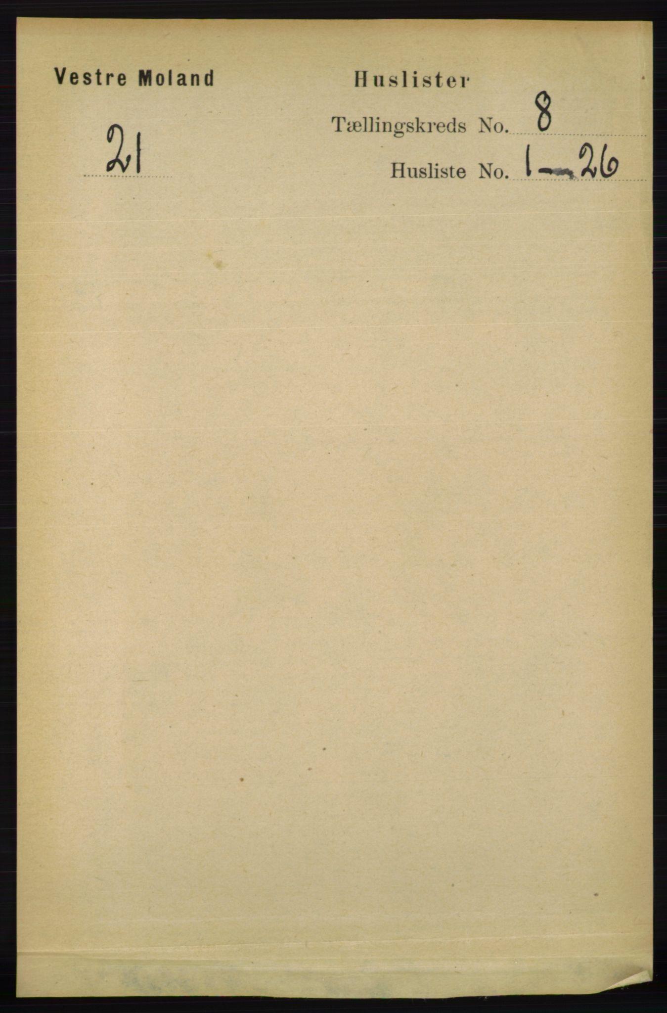 RA, Folketelling 1891 for 0926 Vestre Moland herred, 1891, s. 2969