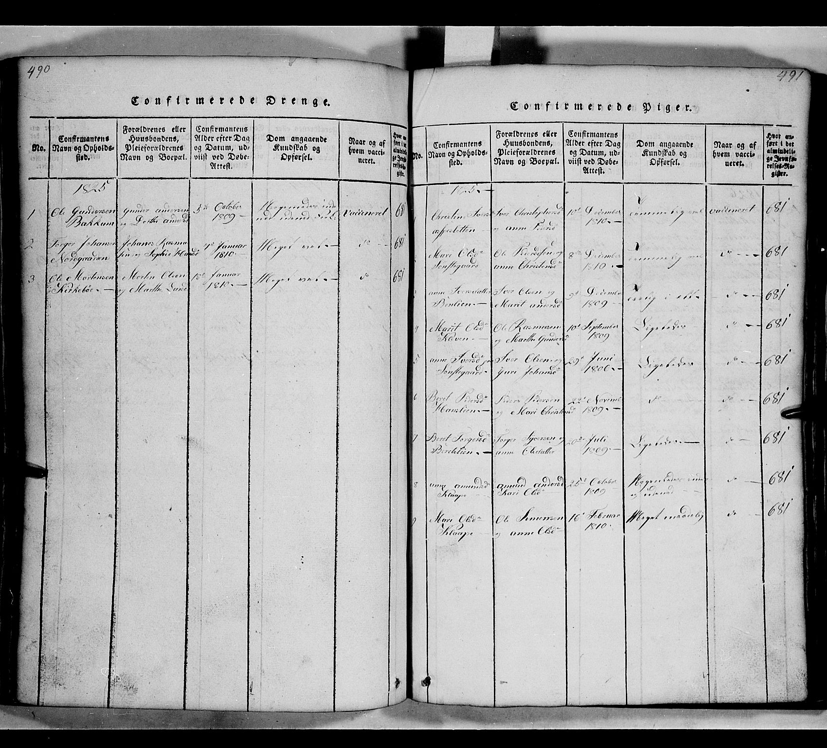 SAH, Gausdal prestekontor, Klokkerbok nr. 2, 1818-1874, s. 490-491