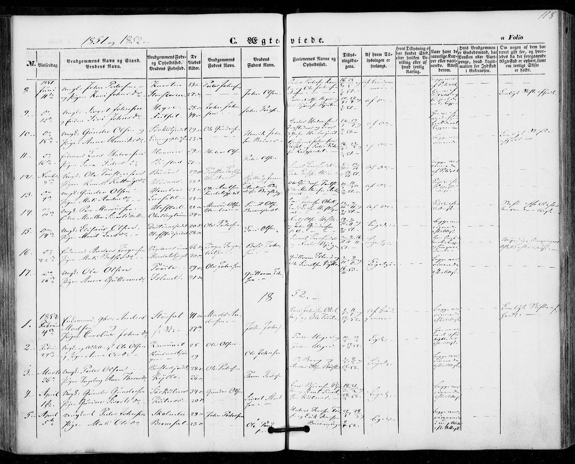 SAT, Ministerialprotokoller, klokkerbøker og fødselsregistre - Nord-Trøndelag, 703/L0028: Ministerialbok nr. 703A01, 1850-1862, s. 118