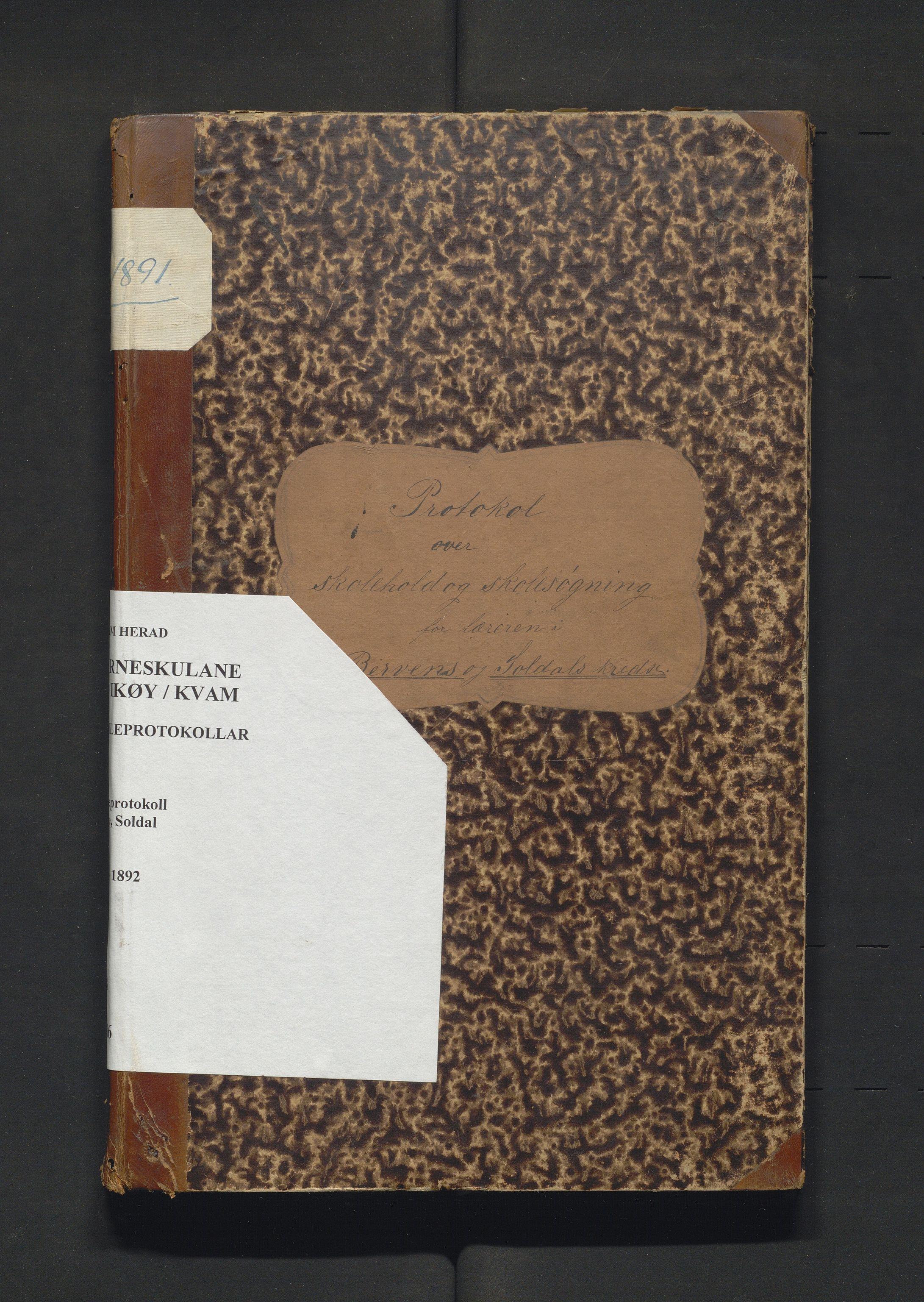 IKAH, Kvam herad. Barneskulane, F/Fa/L0016: Skuleprotokoll for Børve og Soldal krinsar, 1886-1892