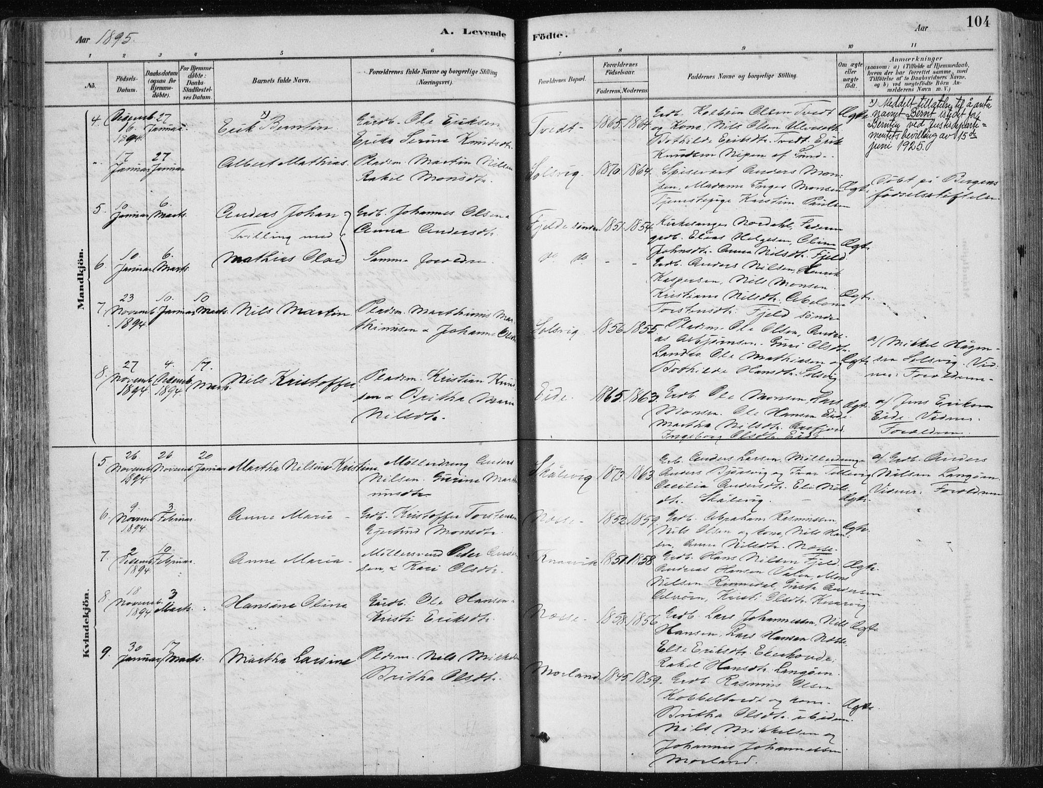 SAB, Fjell sokneprestembete, H/Haa: Ministerialbok nr. A  8, 1878-1898, s. 104