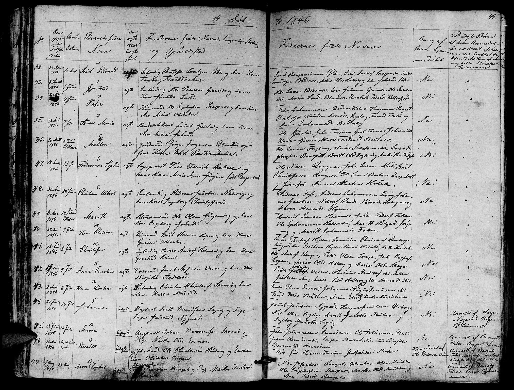 SAT, Ministerialprotokoller, klokkerbøker og fødselsregistre - Møre og Romsdal, 581/L0936: Ministerialbok nr. 581A04, 1836-1852, s. 45