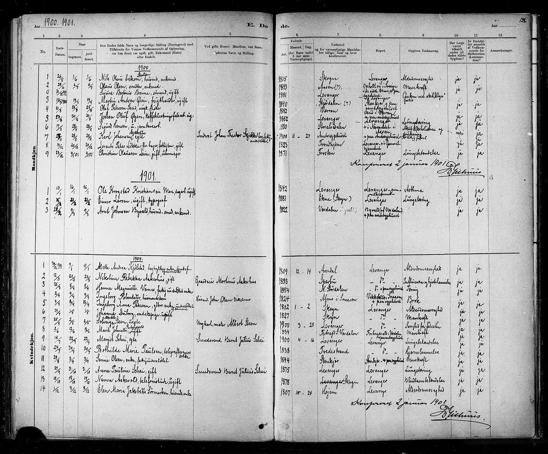 SAT, Ministerialprotokoller, klokkerbøker og fødselsregistre - Nord-Trøndelag, 720/L0192: Klokkerbok nr. 720C01, 1880-1917, s. 122