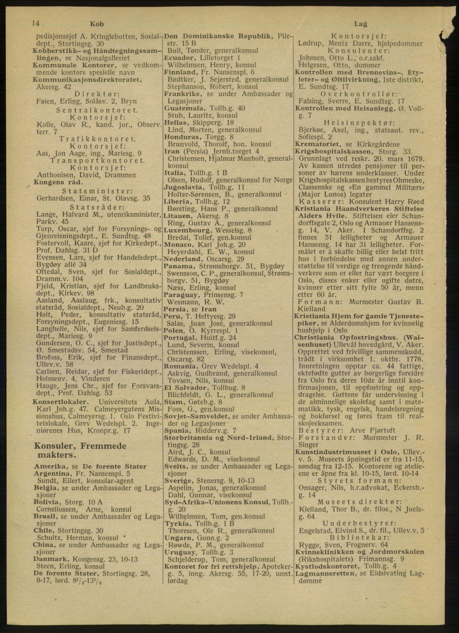 RA, Oslo adressebok (publikasjon)*, 1947, s. 14