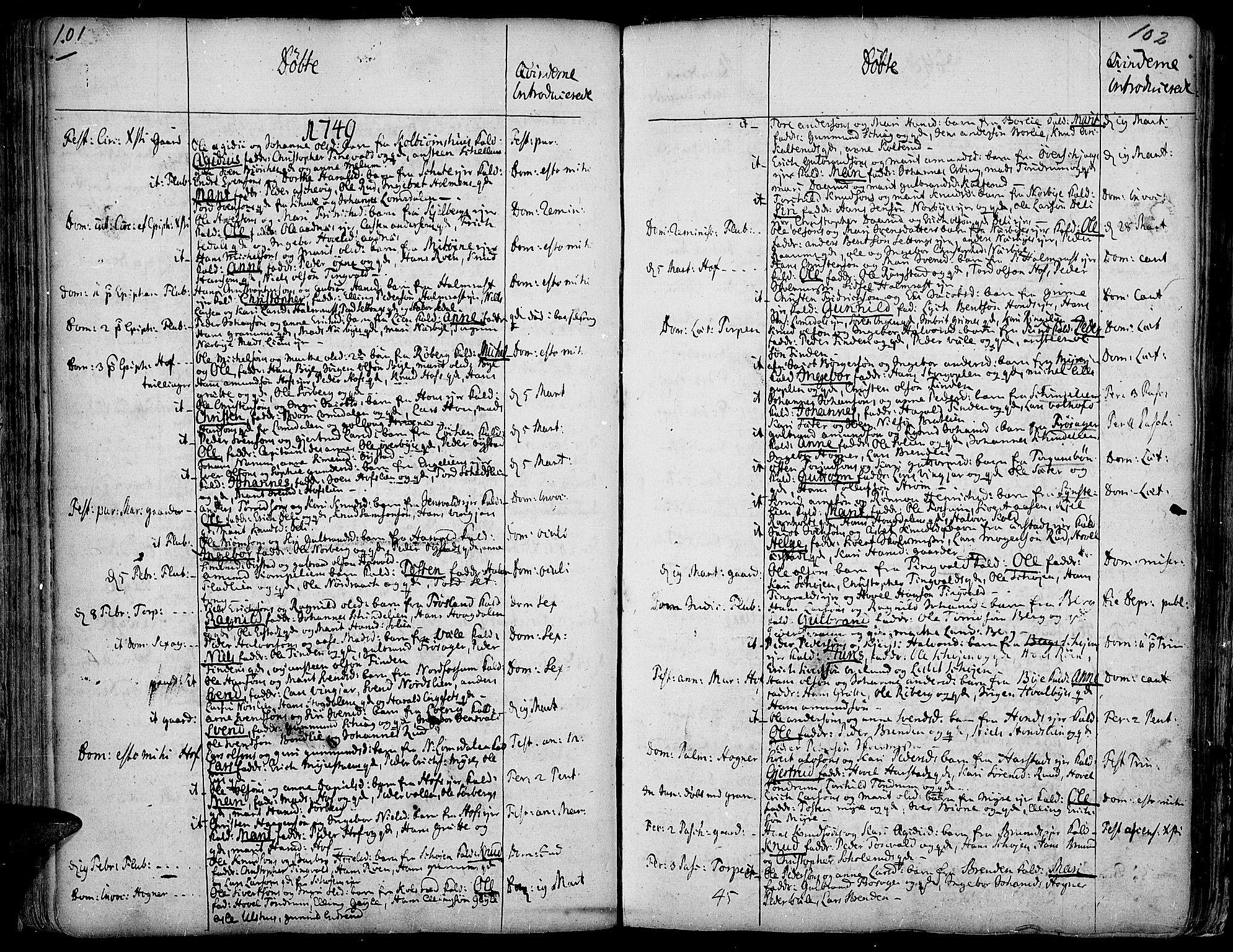 SAH, Land prestekontor, Ministerialbok nr. 2, 1733-1764, s. 101-102
