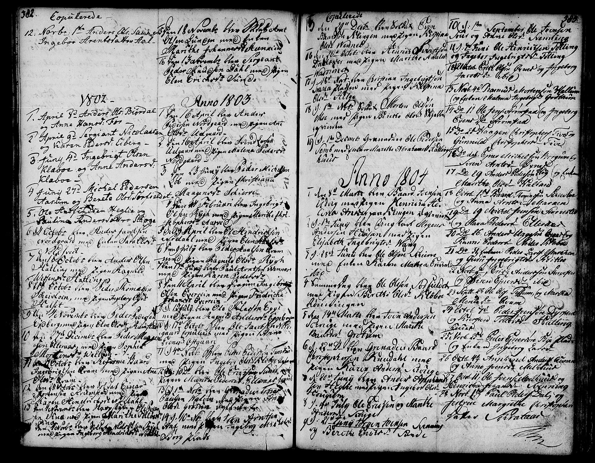 SAT, Ministerialprotokoller, klokkerbøker og fødselsregistre - Nord-Trøndelag, 746/L0440: Ministerialbok nr. 746A02, 1760-1815, s. 382-383