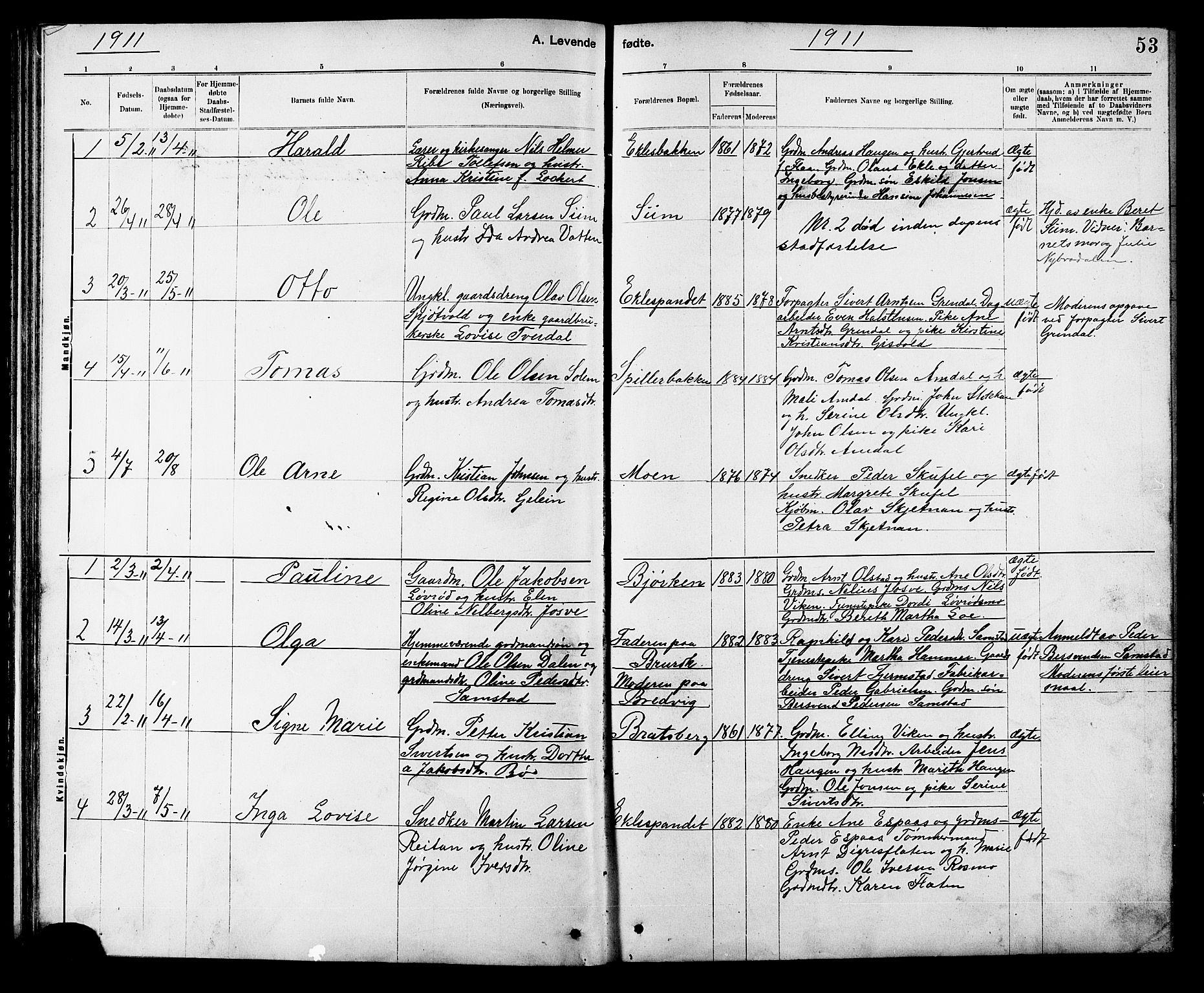 SAT, Ministerialprotokoller, klokkerbøker og fødselsregistre - Sør-Trøndelag, 608/L0341: Klokkerbok nr. 608C07, 1890-1912, s. 53