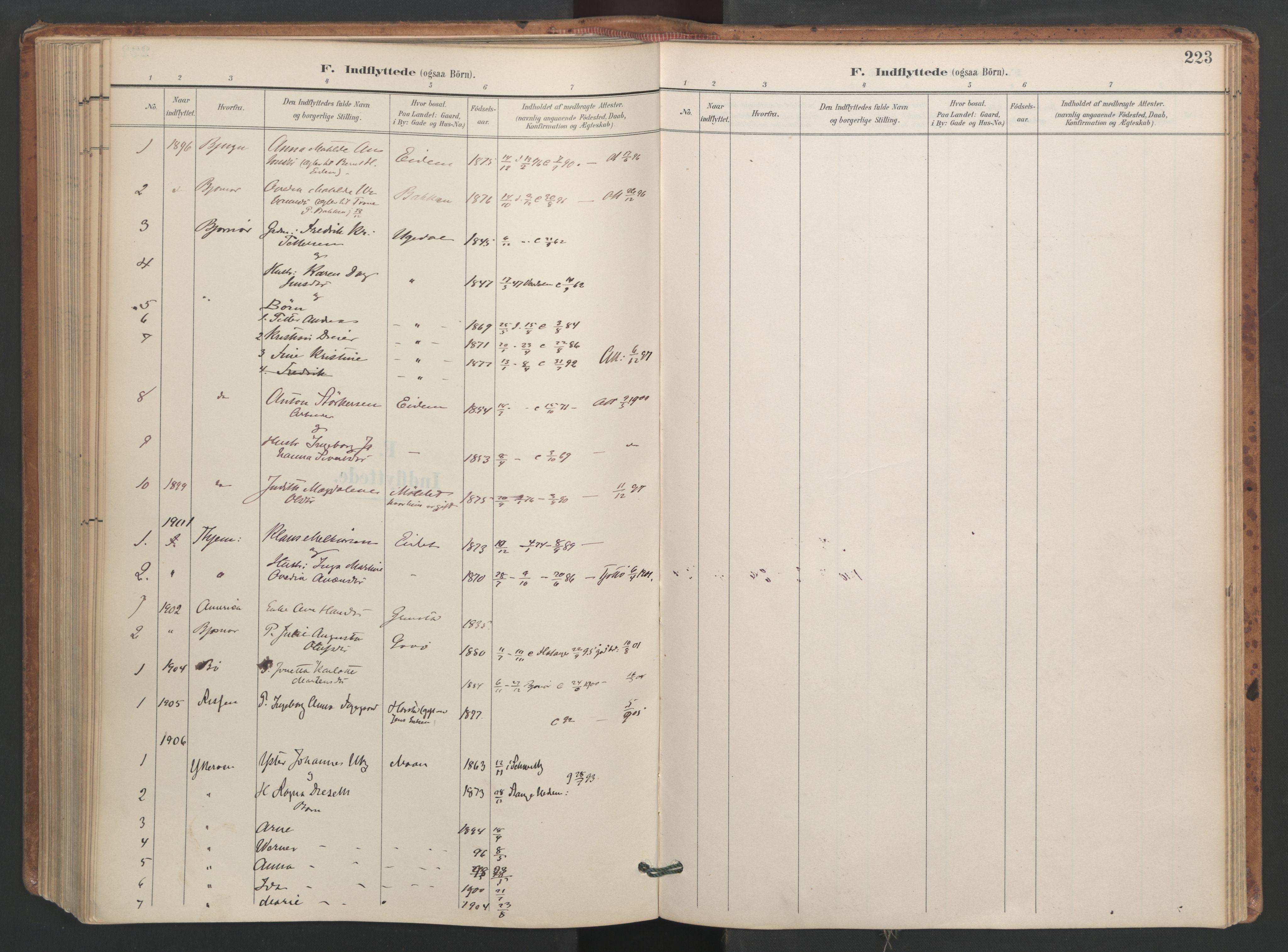 SAT, Ministerialprotokoller, klokkerbøker og fødselsregistre - Sør-Trøndelag, 655/L0681: Ministerialbok nr. 655A10, 1895-1907, s. 223