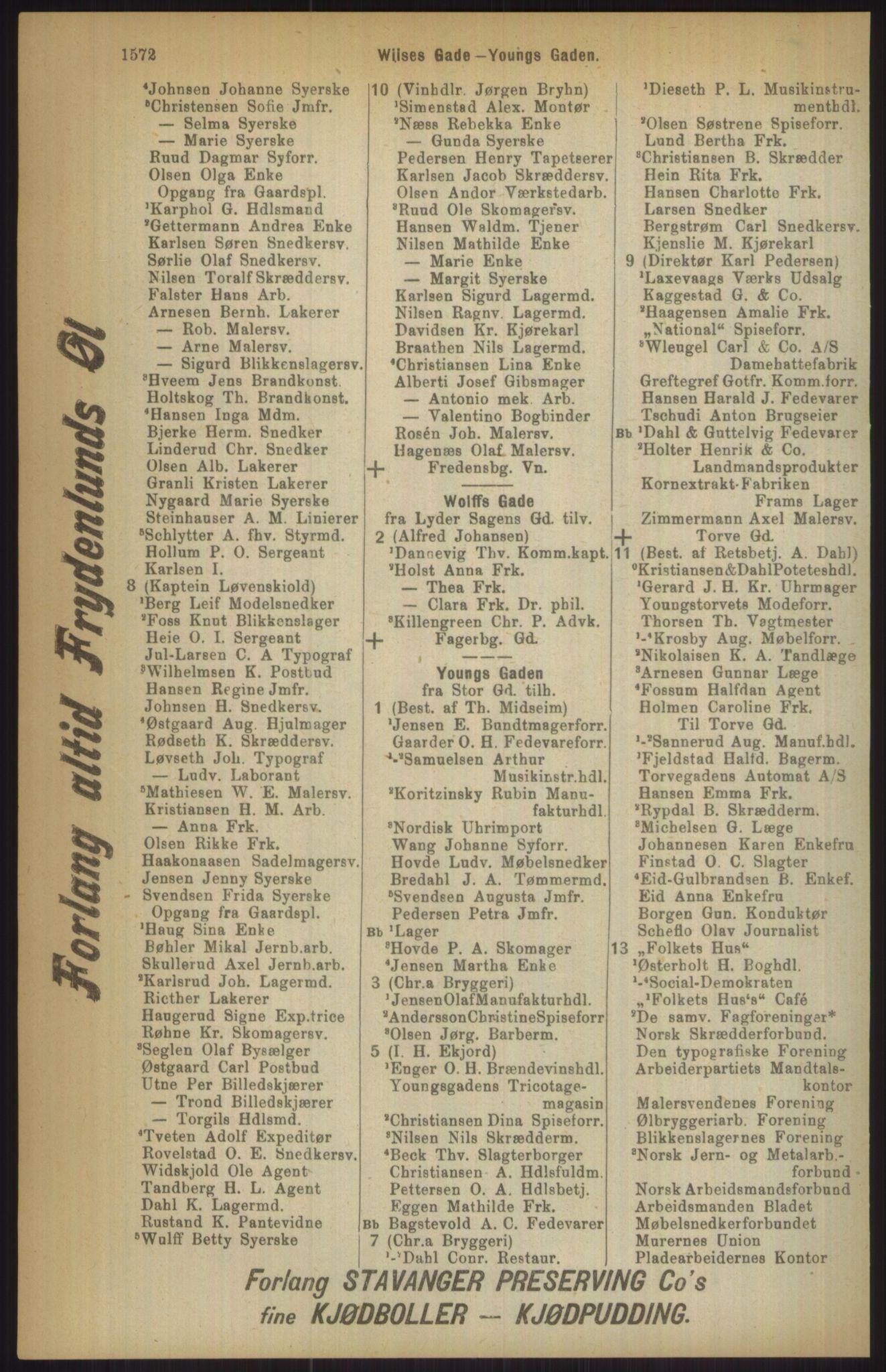 RA, Kristiania adressebok (publikasjon)*, 1911, s. 1572