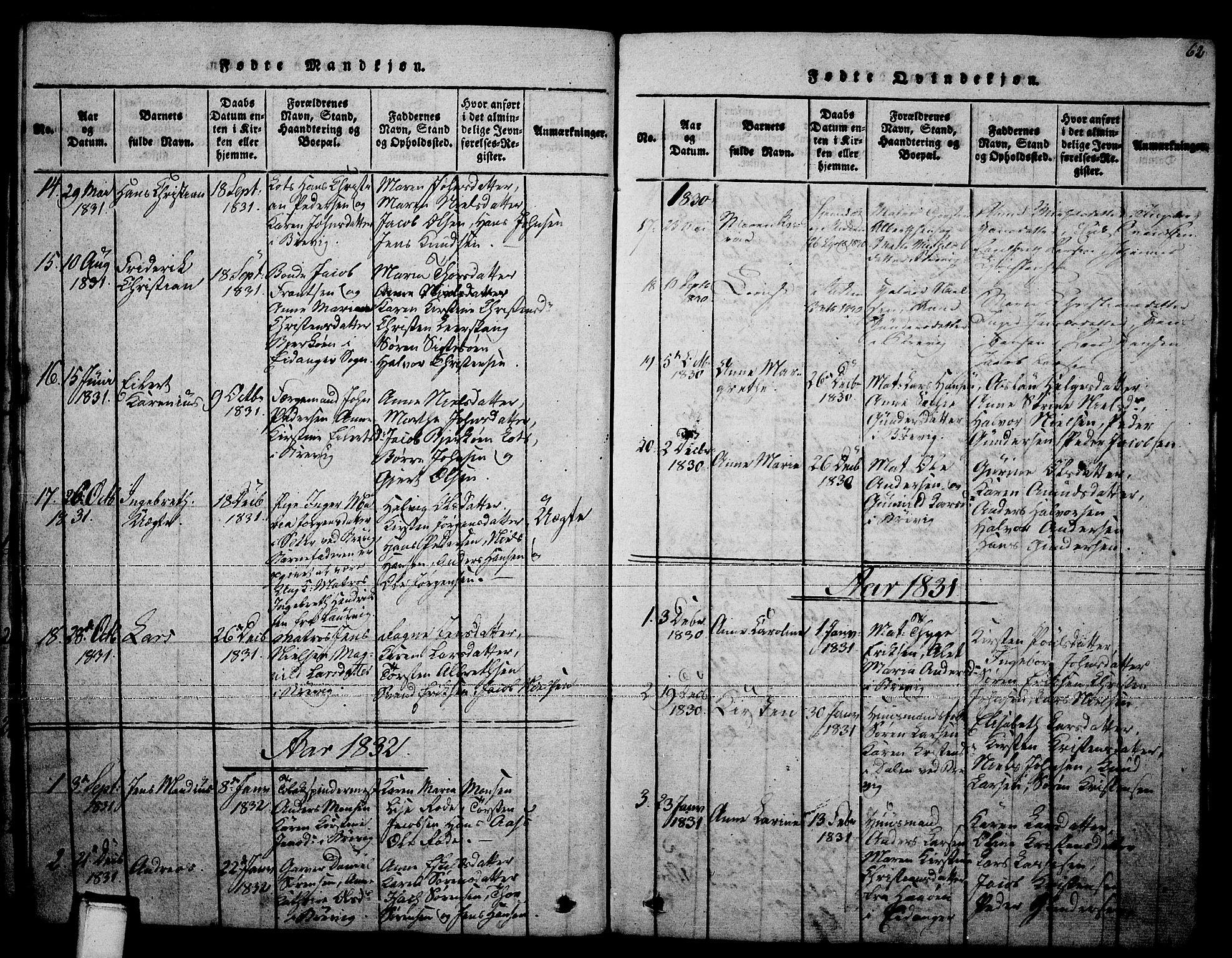 SAKO, Brevik kirkebøker, F/Fa/L0004: Ministerialbok nr. 4, 1814-1846, s. 62