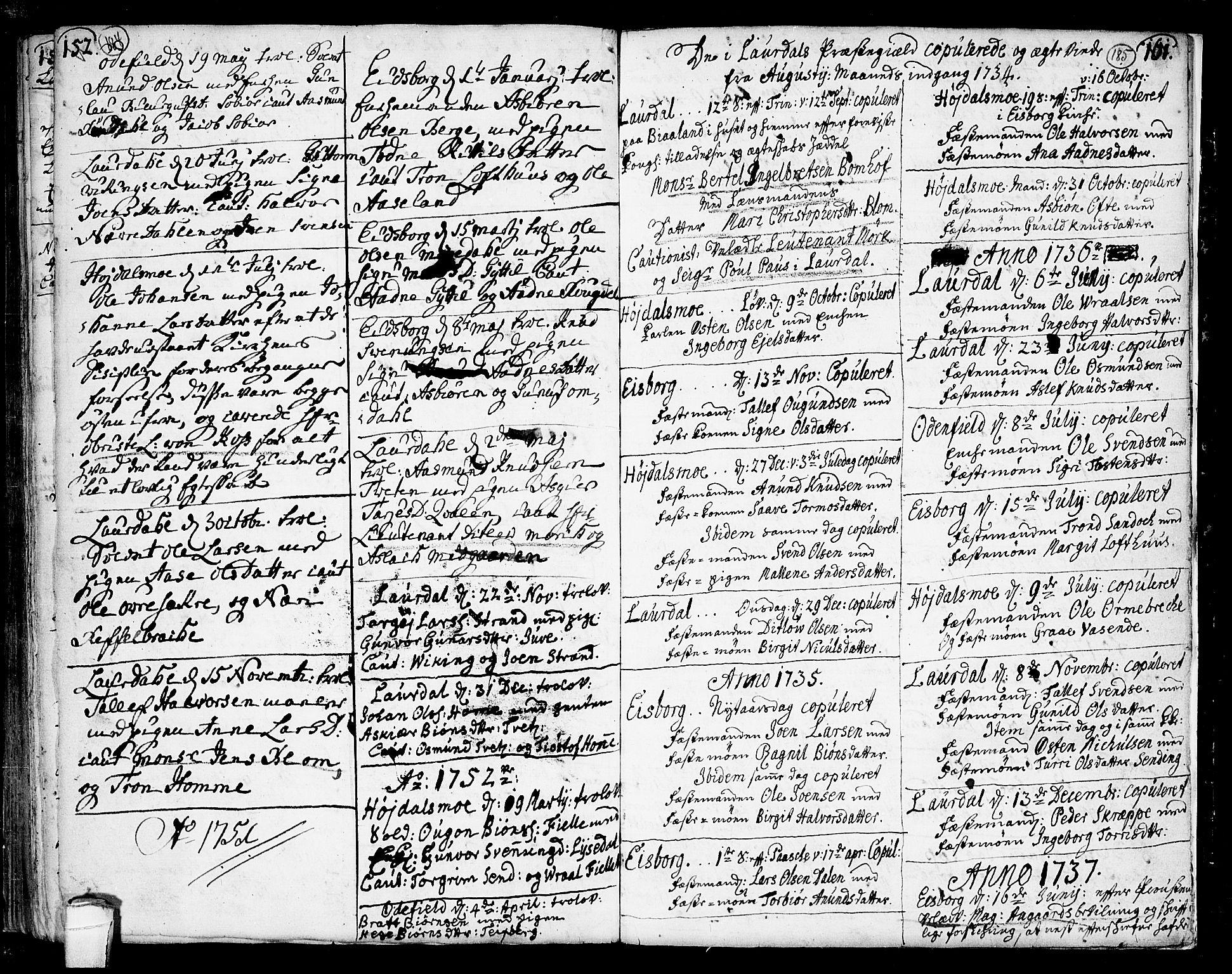 SAKO, Lårdal kirkebøker, F/Fa/L0002: Ministerialbok nr. I 2, 1734-1754, s. 184-185