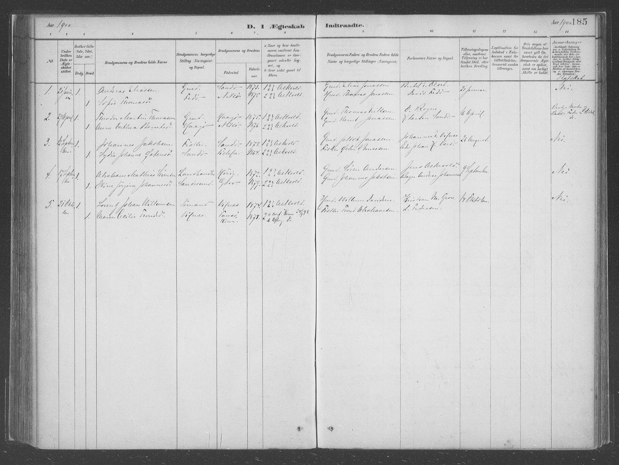 SAB, Askvoll Sokneprestembete, Ministerialbok nr. C  1, 1879-1922, s. 185