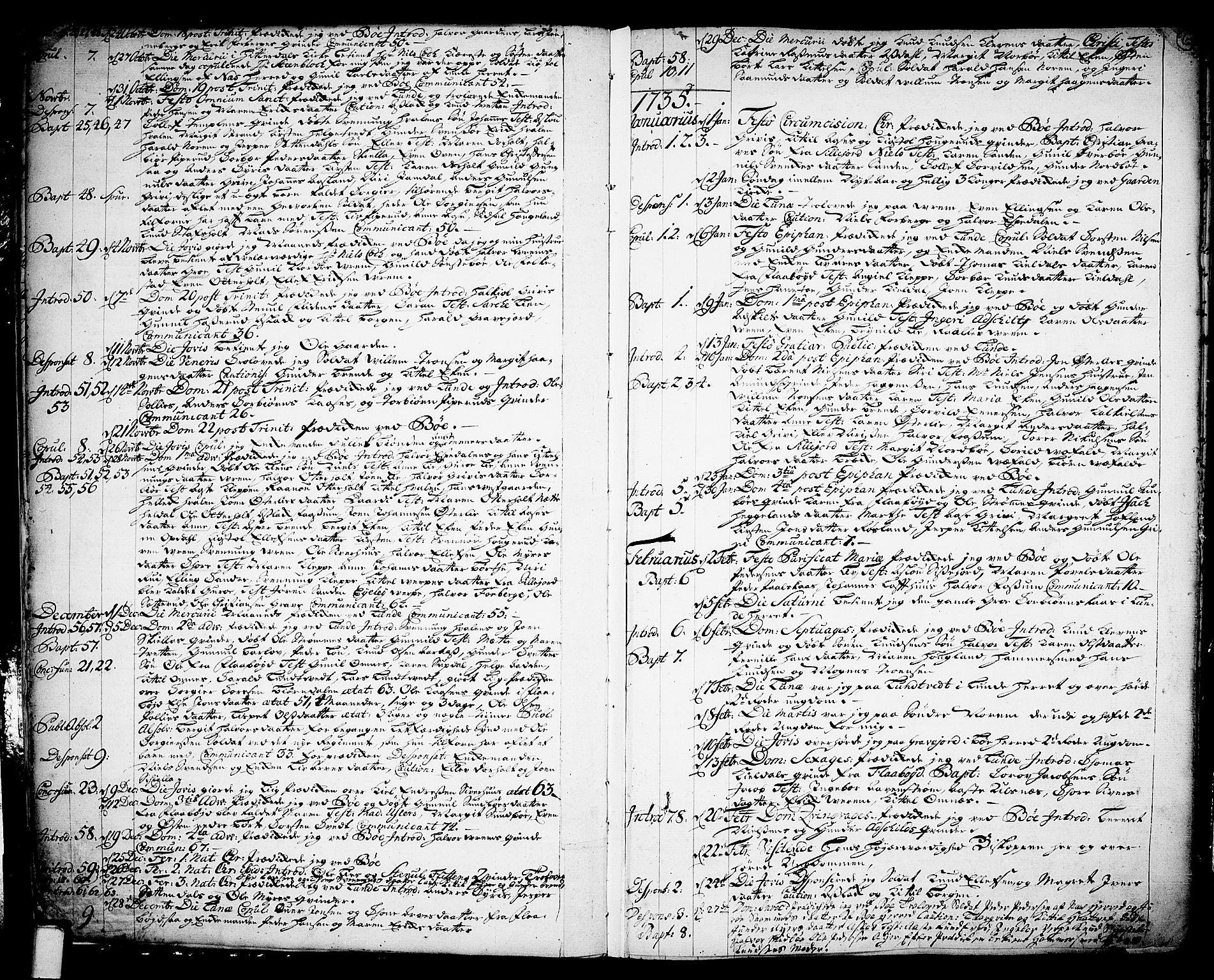 SAKO, Bø kirkebøker, F/Fa/L0003: Ministerialbok nr. 3, 1733-1748, s. 6