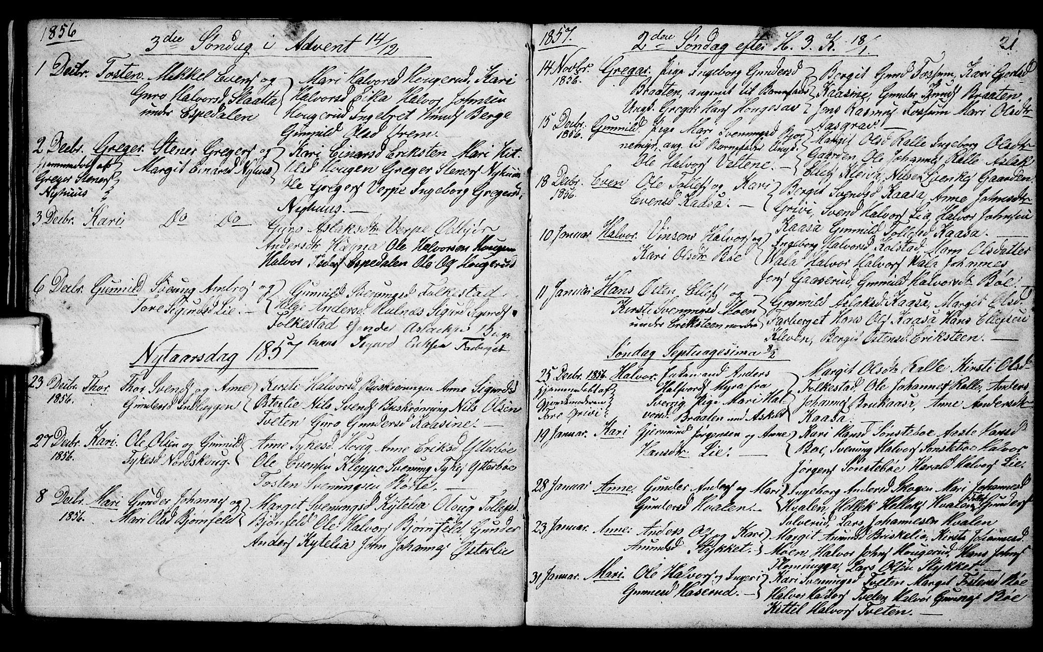 SAKO, Bø kirkebøker, G/Ga/L0002: Klokkerbok nr. 2, 1853-1866, s. 21