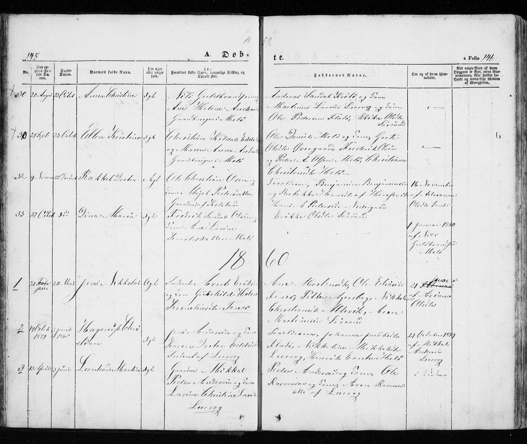 SATØ, Trondenes sokneprestkontor, H/Ha/L0010kirke: Ministerialbok nr. 10, 1840-1865, s. 145-146