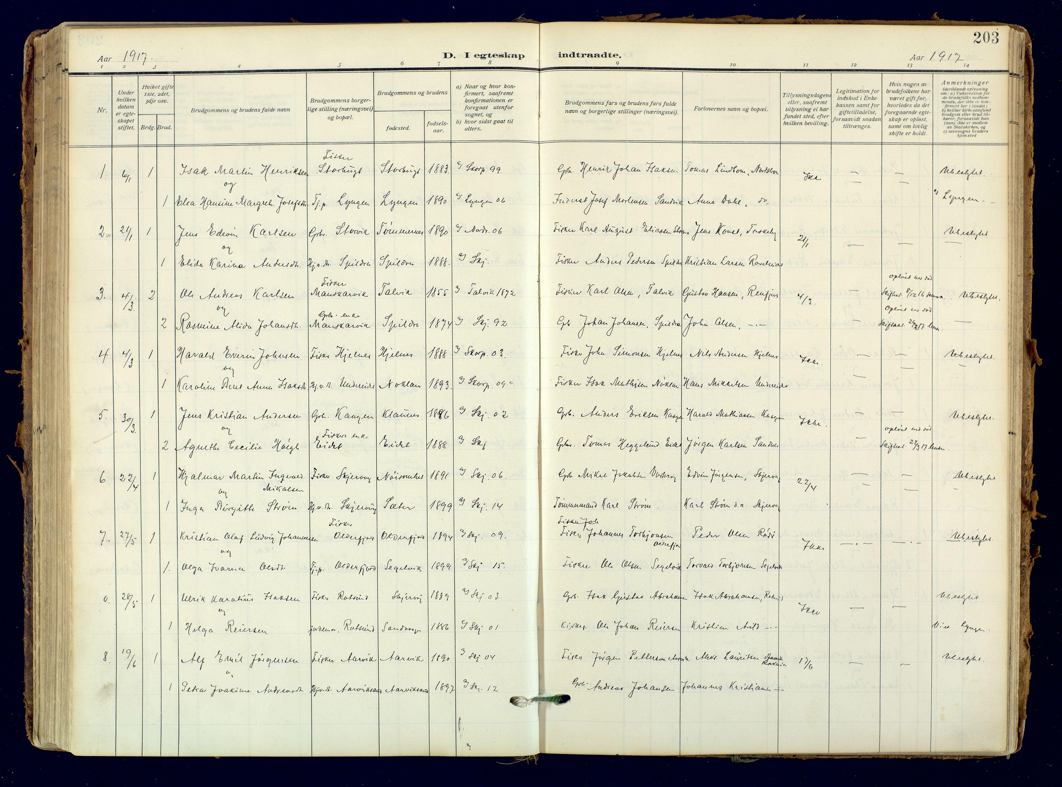 SATØ, Skjervøy sokneprestkontor, H/Ha/Haa: Ministerialbok nr. 18, 1910-1926, s. 203