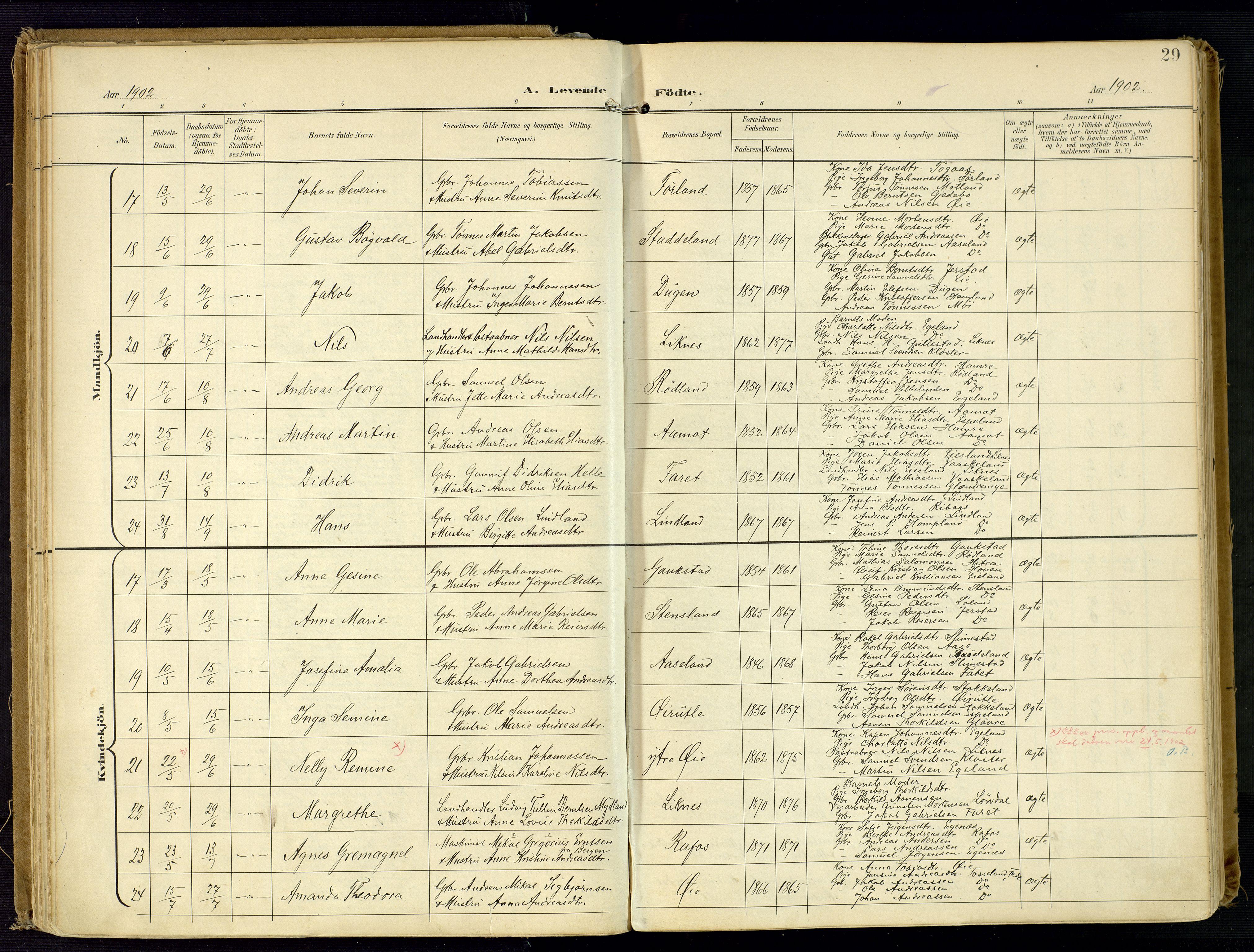 SAK, Kvinesdal sokneprestkontor, F/Fa/Fab/L0009: Ministerialbok nr. A 9, 1898-1915, s. 29