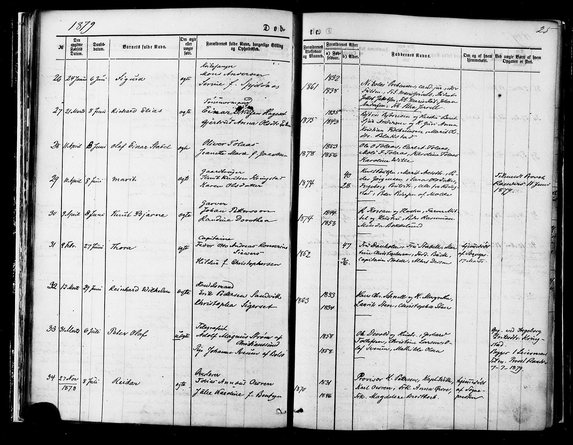 SAT, Ministerialprotokoller, klokkerbøker og fødselsregistre - Møre og Romsdal, 558/L0691: Ministerialbok nr. 558A05, 1873-1886, s. 25