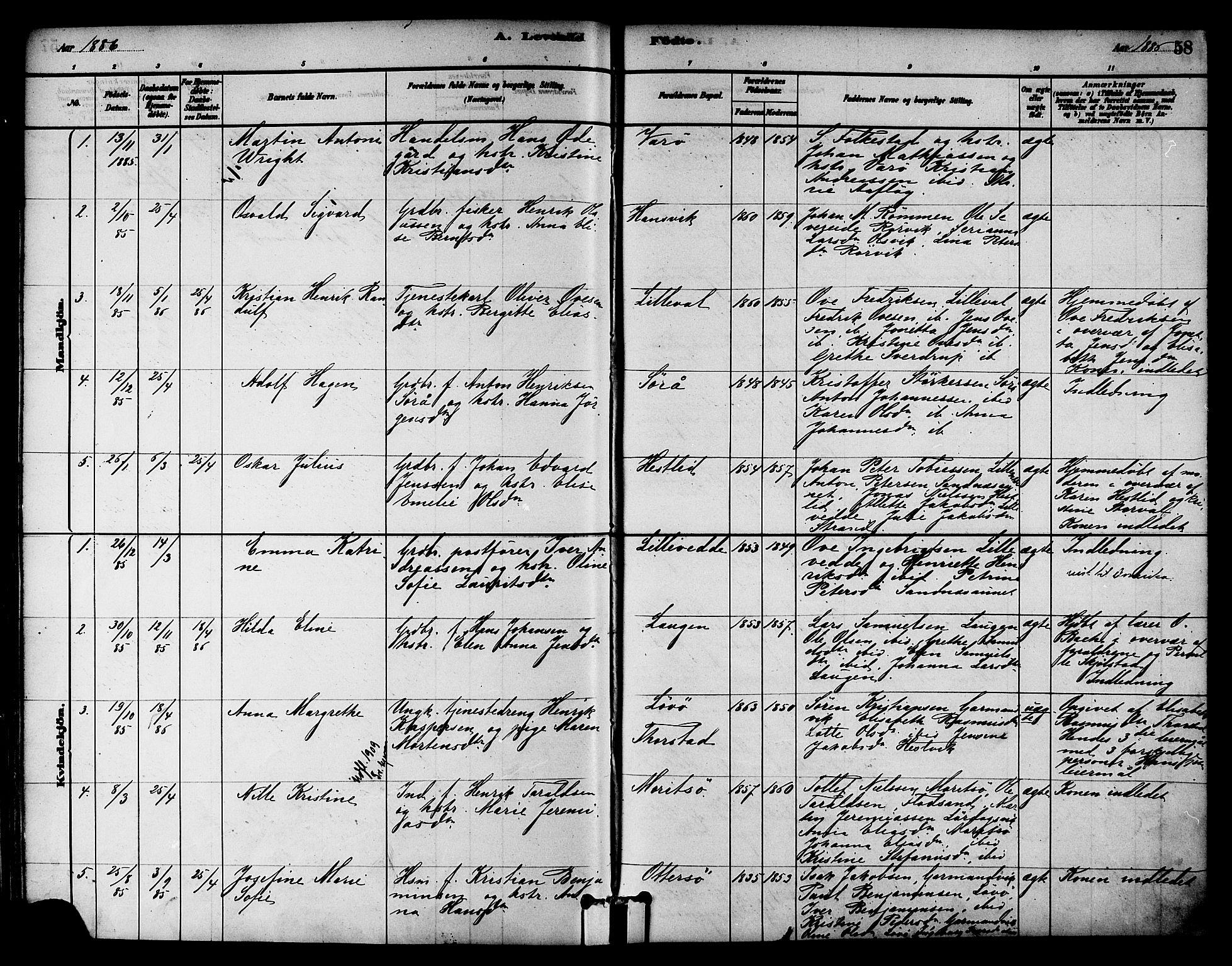 SAT, Ministerialprotokoller, klokkerbøker og fødselsregistre - Nord-Trøndelag, 784/L0672: Ministerialbok nr. 784A07, 1880-1887, s. 58