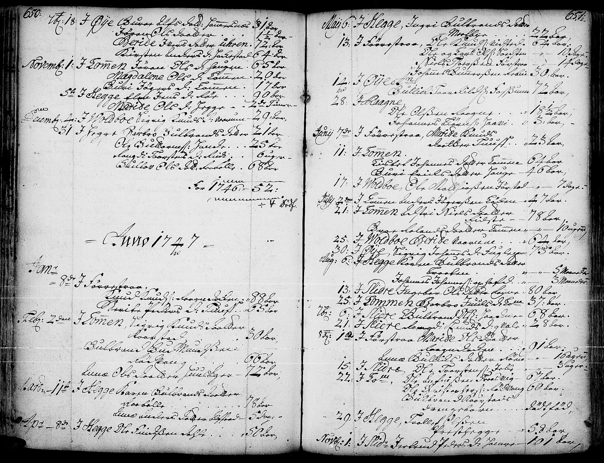 SAH, Slidre prestekontor, Ministerialbok nr. 1, 1724-1814, s. 650-651