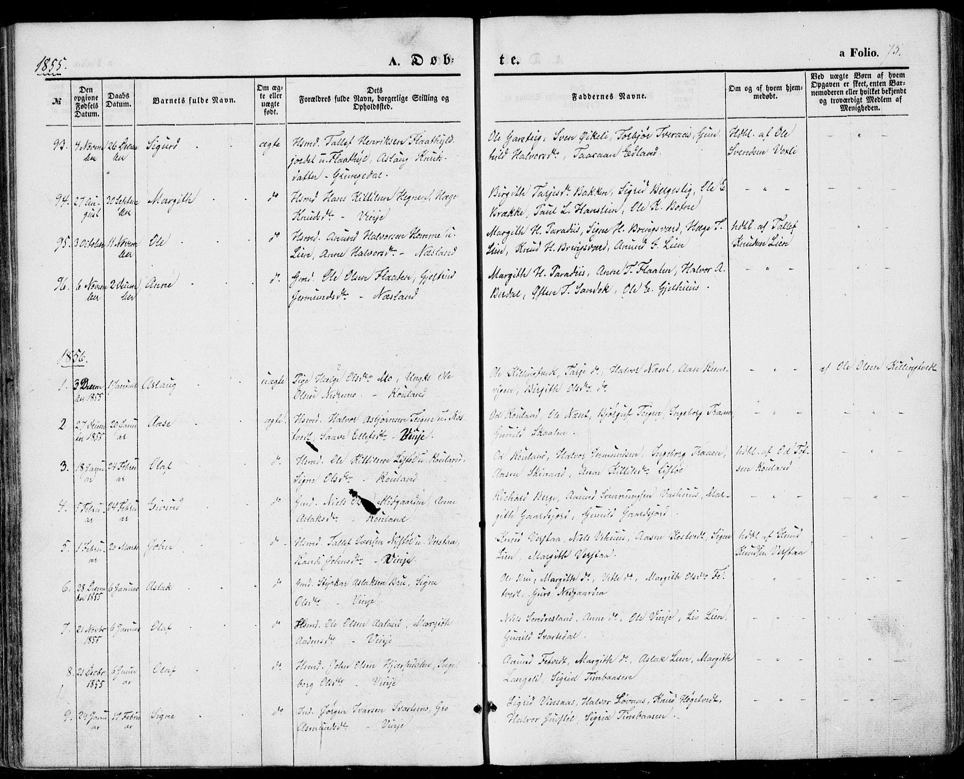 SAKO, Vinje kirkebøker, F/Fa/L0004: Ministerialbok nr. I 4, 1843-1869, s. 75