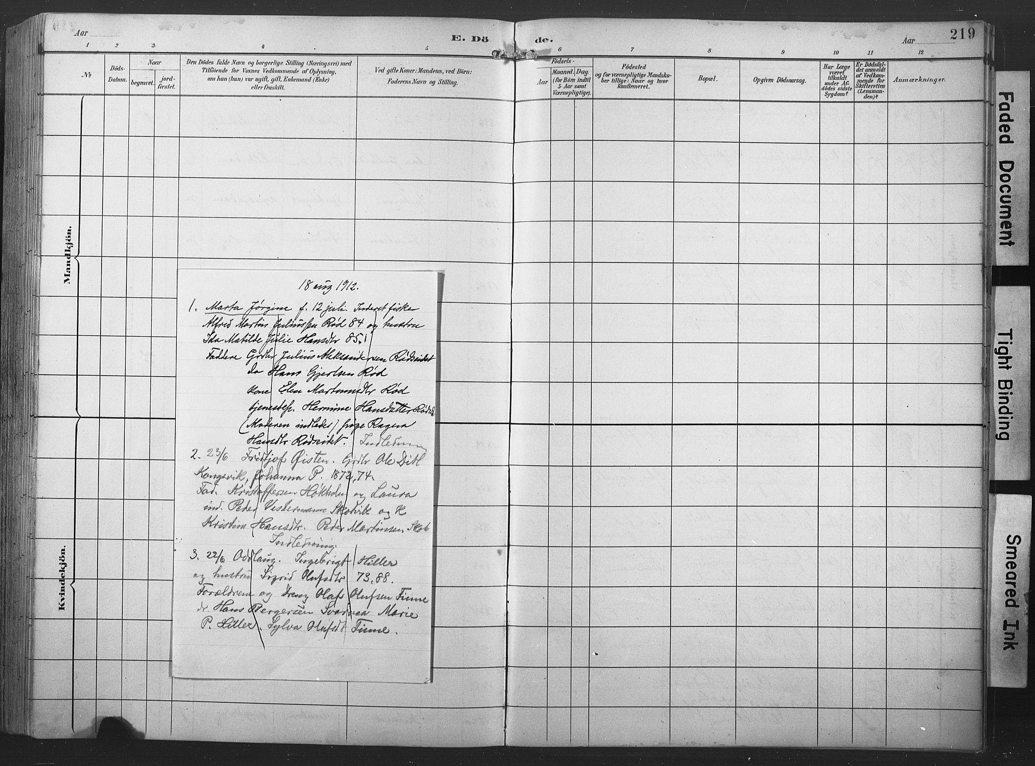 SAT, Ministerialprotokoller, klokkerbøker og fødselsregistre - Nord-Trøndelag, 789/L0706: Klokkerbok nr. 789C01, 1888-1931, s. 219