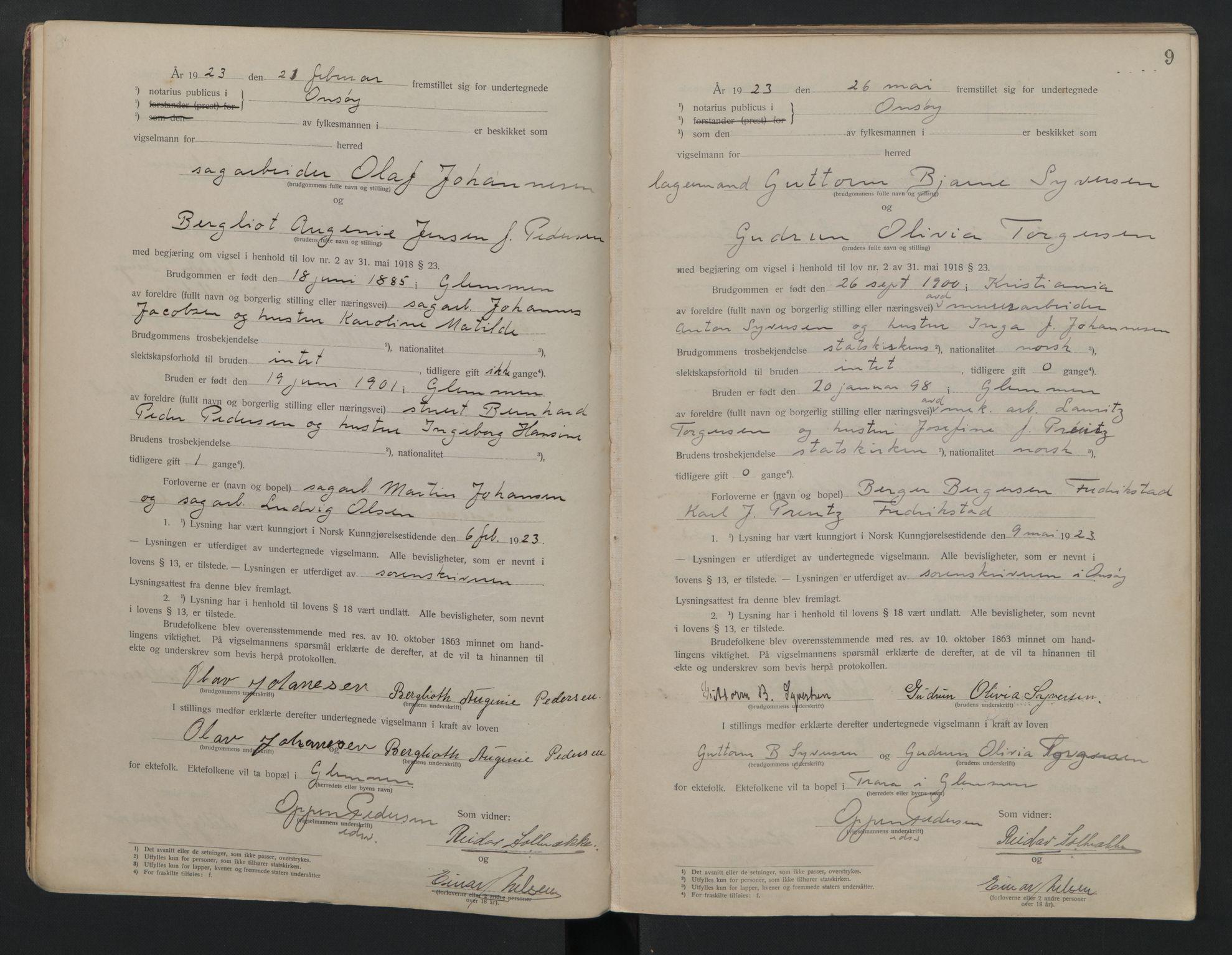 SAO, Onsøy sorenskriveri, L/La/L0001: Vigselsbok, 1920-1942, s. 9