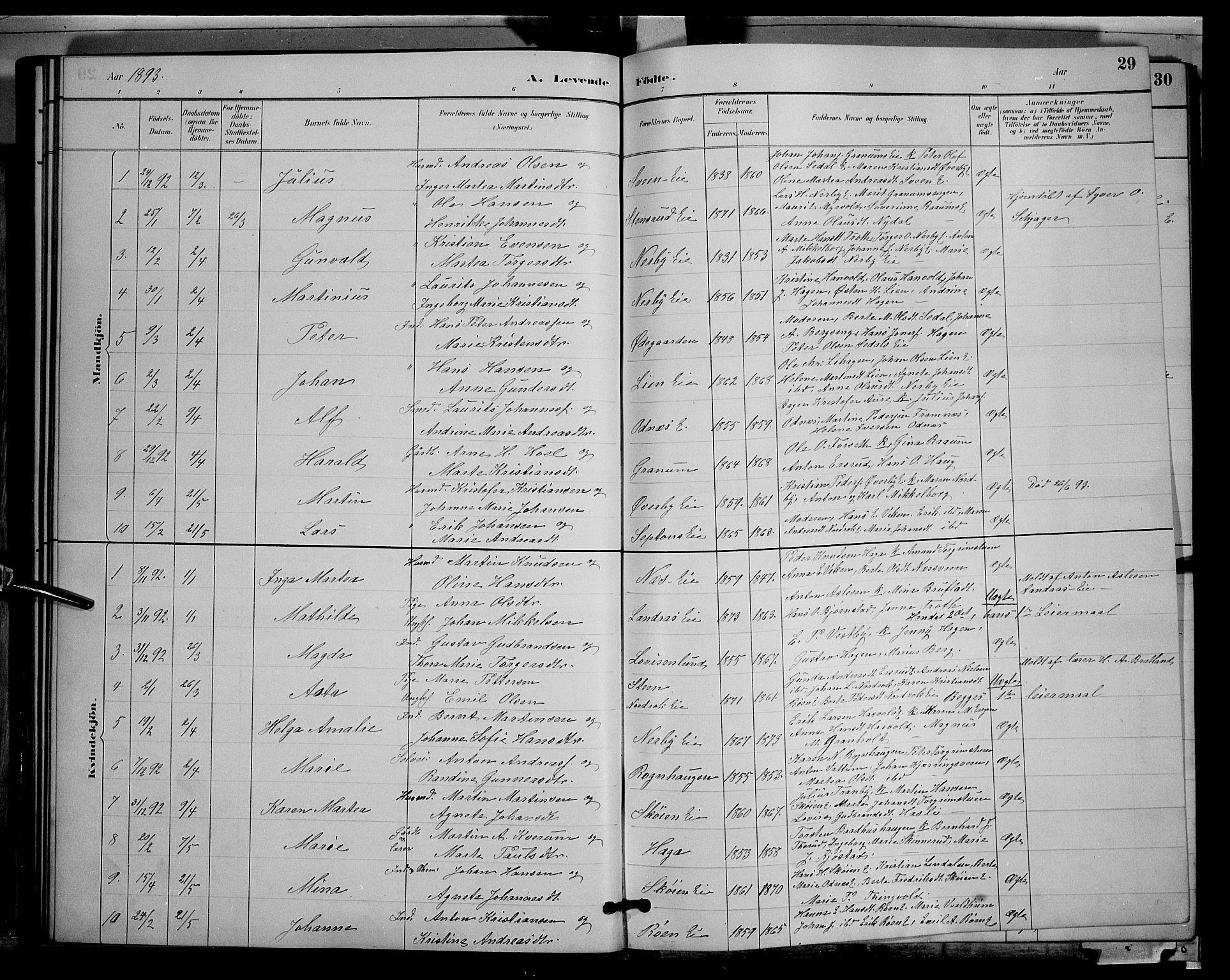 SAH, Søndre Land prestekontor, L/L0003: Klokkerbok nr. 3, 1884-1902, s. 29