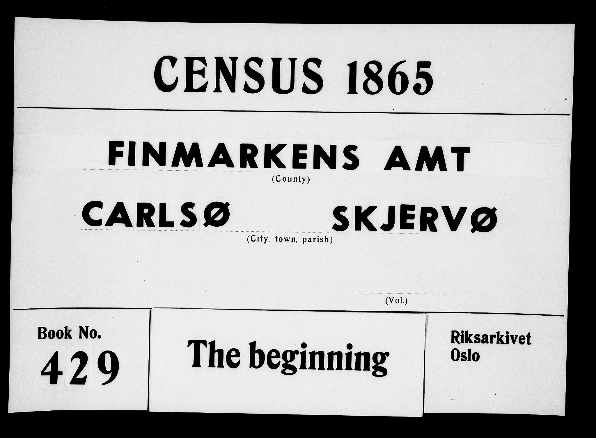 RA, Folketelling 1865 for 1936P Karlsøy prestegjeld, 1865, s. 1