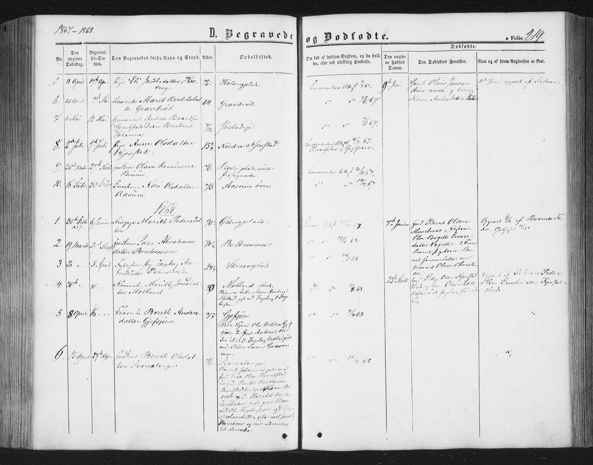 SAT, Ministerialprotokoller, klokkerbøker og fødselsregistre - Nord-Trøndelag, 749/L0472: Ministerialbok nr. 749A06, 1857-1873, s. 219