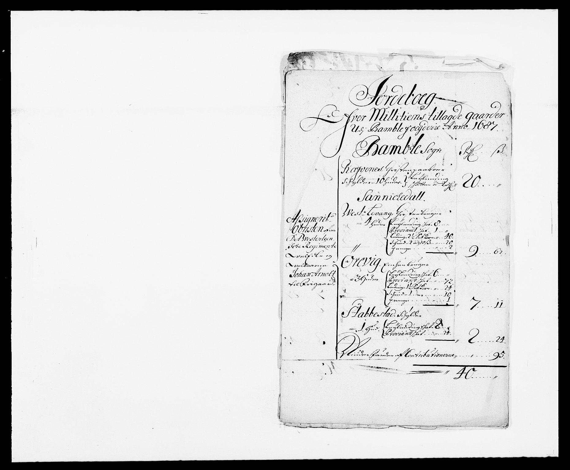 RA, Rentekammeret inntil 1814, Reviderte regnskaper, Fogderegnskap, R34/L2049: Fogderegnskap Bamble, 1685-1687, s. 361