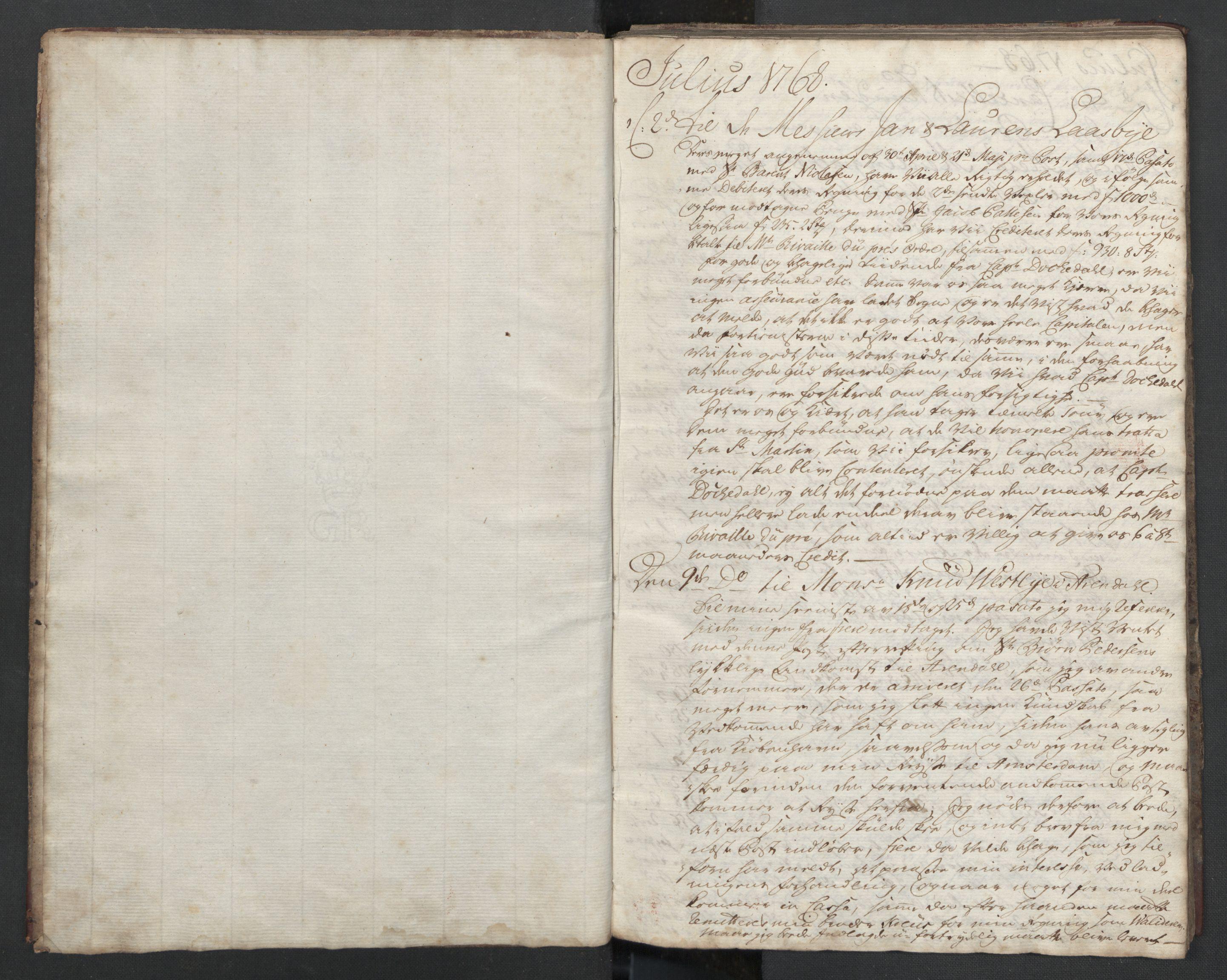 SAST, Pa 0003 - Ploug & Sundt, handelshuset, B/L0001: Kopibok, 1768-1770, s. 3
