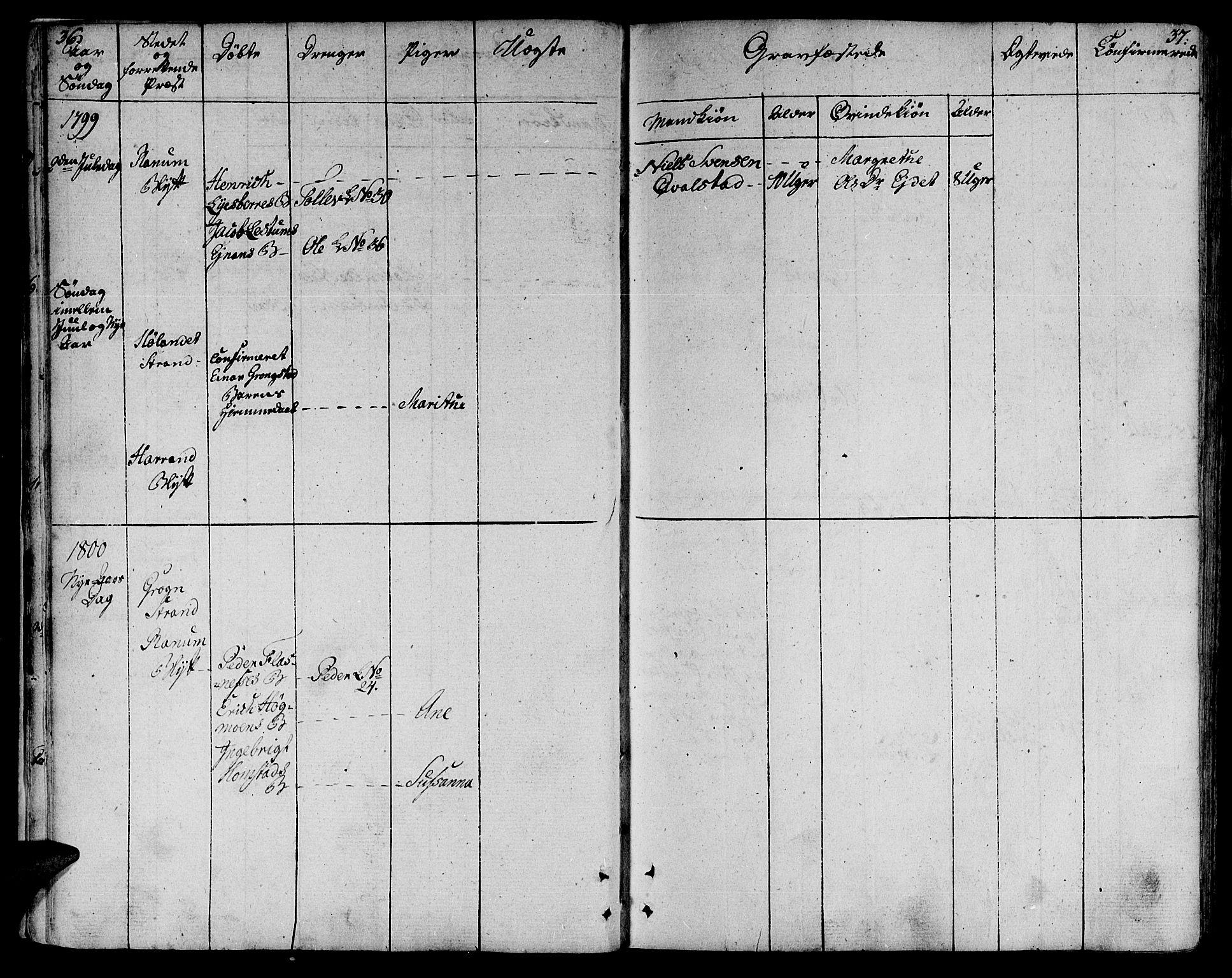 SAT, Ministerialprotokoller, klokkerbøker og fødselsregistre - Nord-Trøndelag, 764/L0545: Ministerialbok nr. 764A05, 1799-1816, s. 36-37