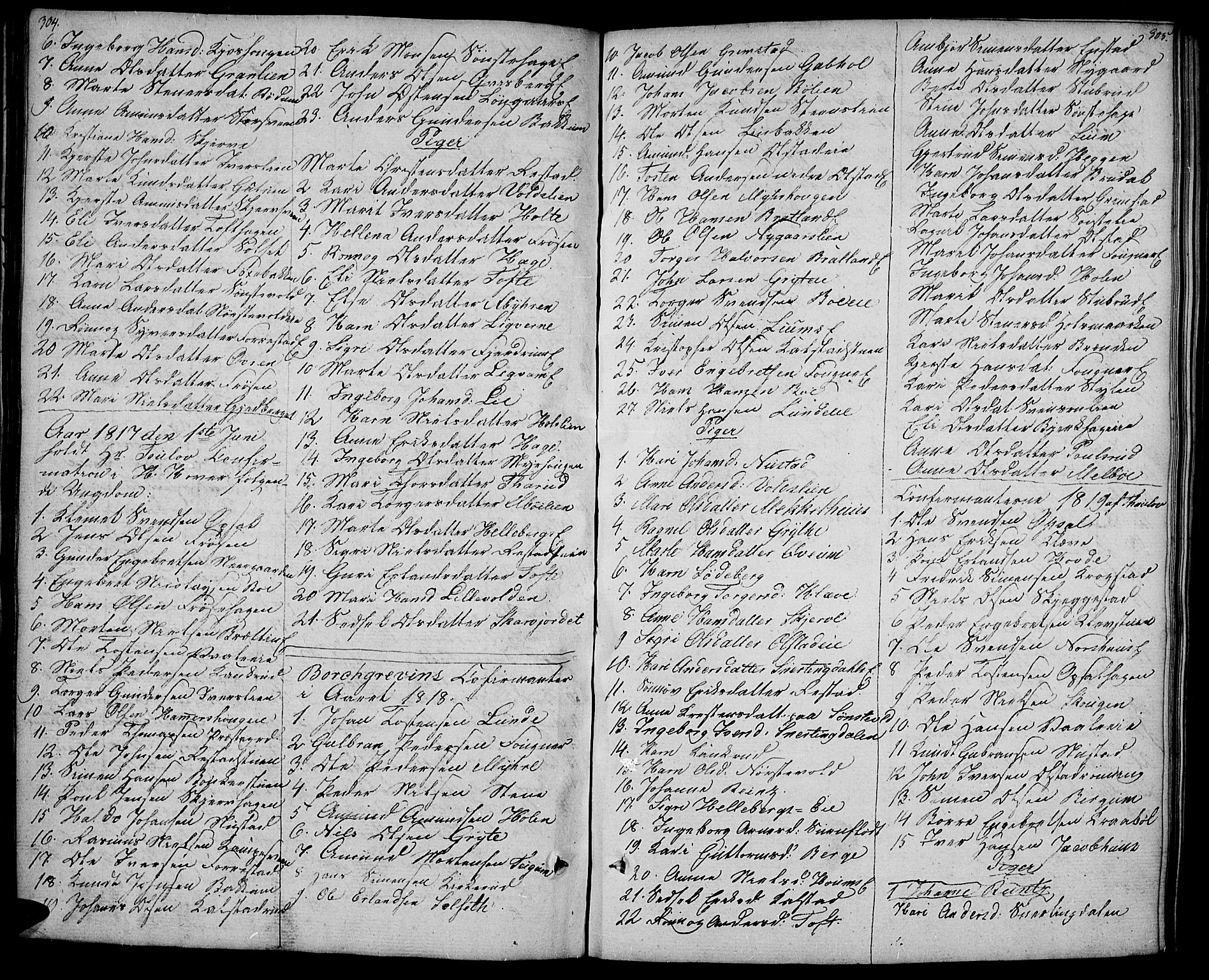 SAH, Gausdal prestekontor, Ministerialbok nr. 4, 1809-1817, s. 304-305