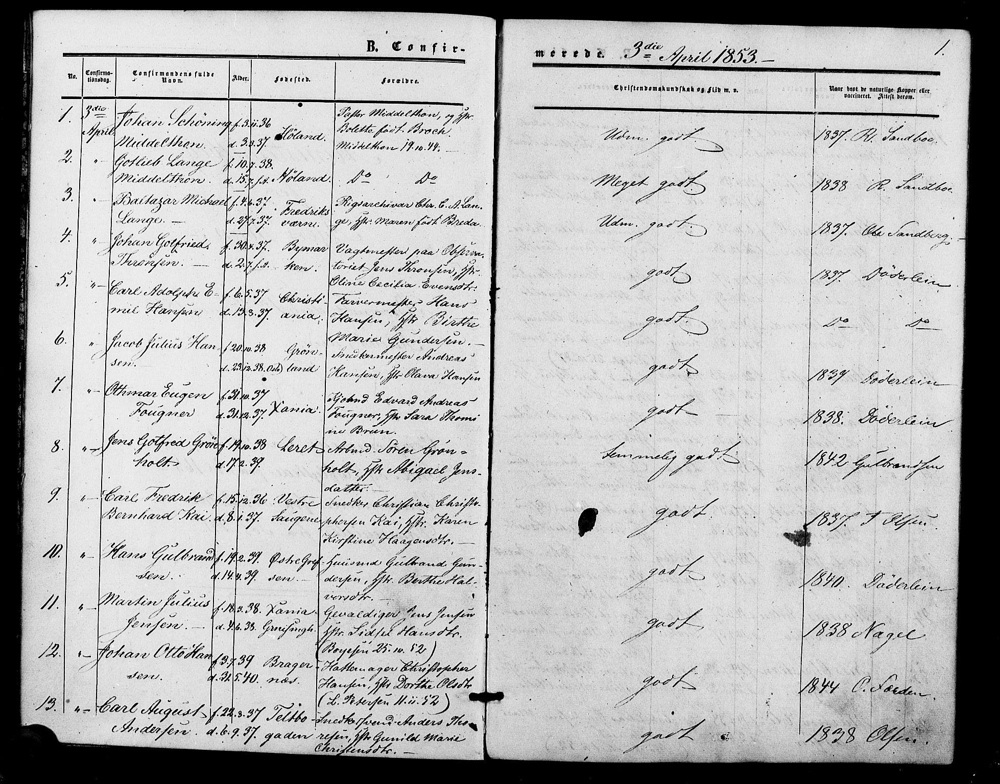 SAO, Vestre Aker prestekontor Kirkebøker, F/Fa/L0001: Ministerialbok nr. 1, 1853-1858, s. 1