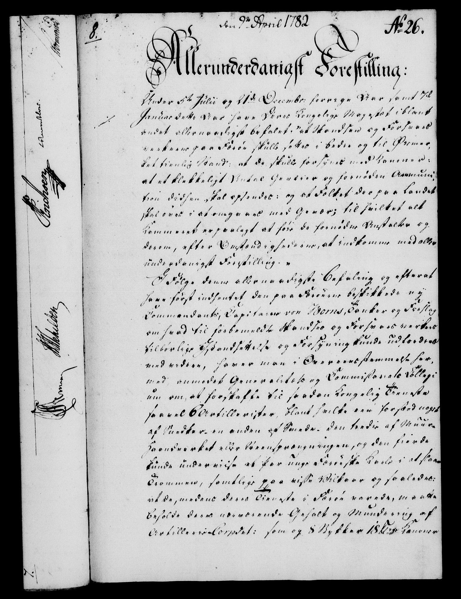 RA, Rentekammeret, Kammerkanselliet, G/Gf/Gfa/L0064: Norsk relasjons- og resolusjonsprotokoll (merket RK 52.64), 1782, s. 214