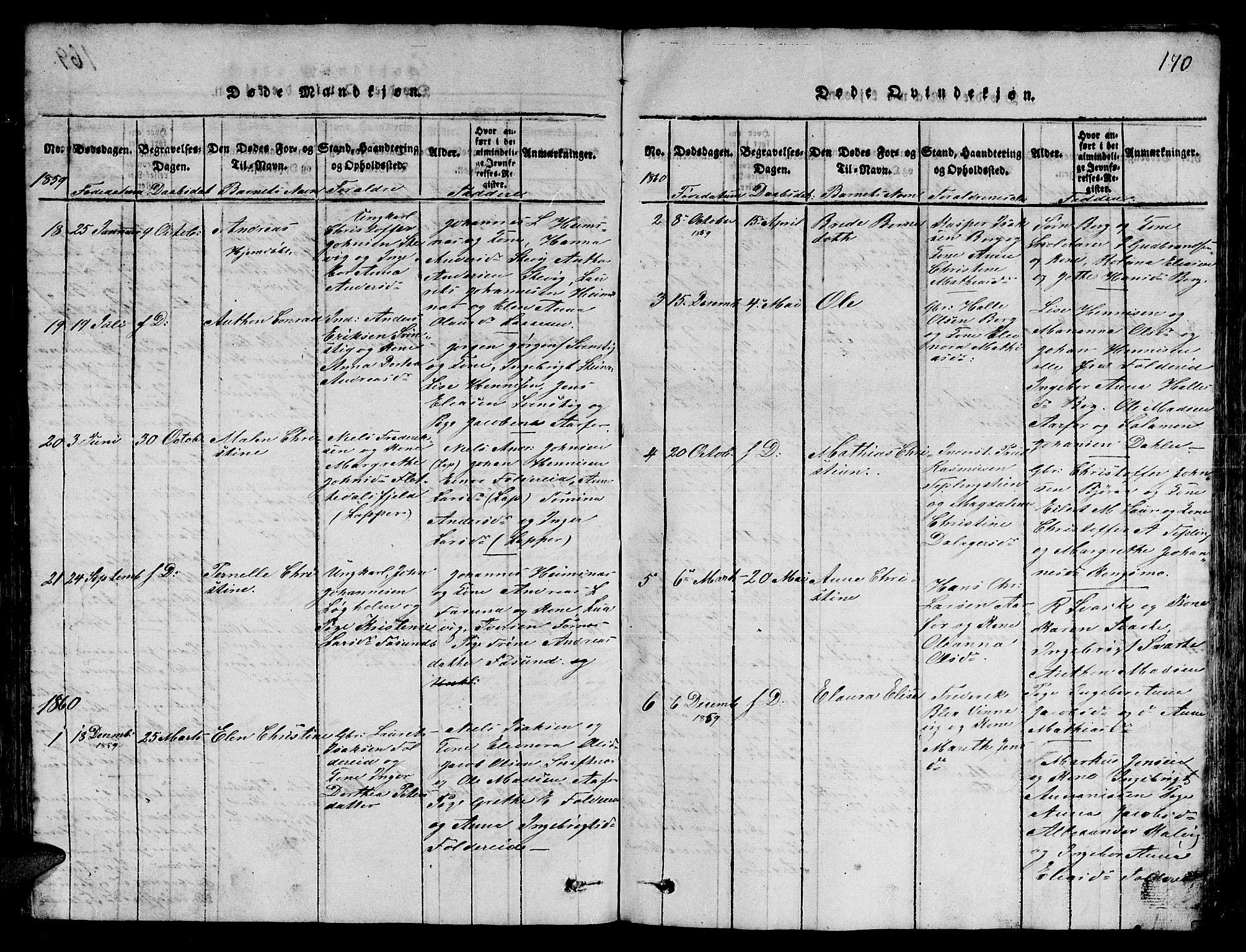 SAT, Ministerialprotokoller, klokkerbøker og fødselsregistre - Nord-Trøndelag, 780/L0648: Klokkerbok nr. 780C01 /3, 1815-1877, s. 170