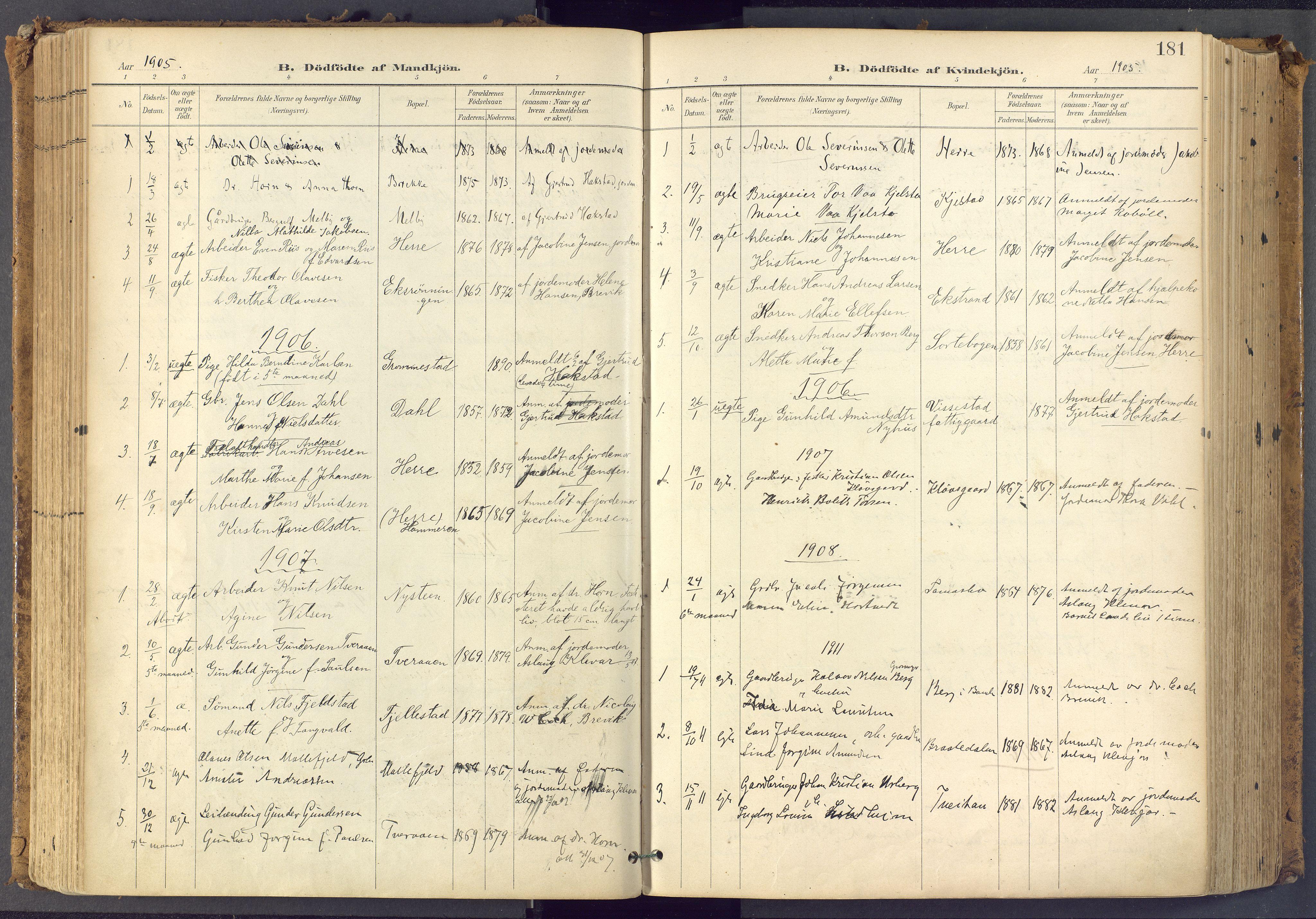 SAKO, Bamble kirkebøker, F/Fa/L0009: Ministerialbok nr. I 9, 1901-1917, s. 181