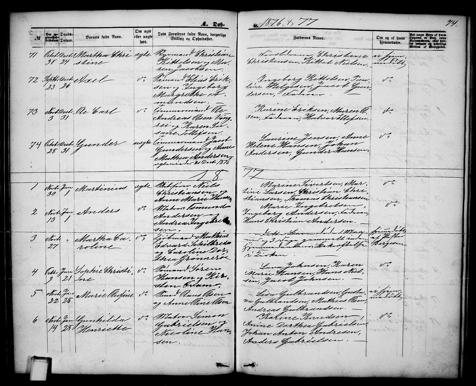 SAKO, Brevik kirkebøker, G/Ga/L0003: Klokkerbok nr. 3, 1866-1881, s. 74