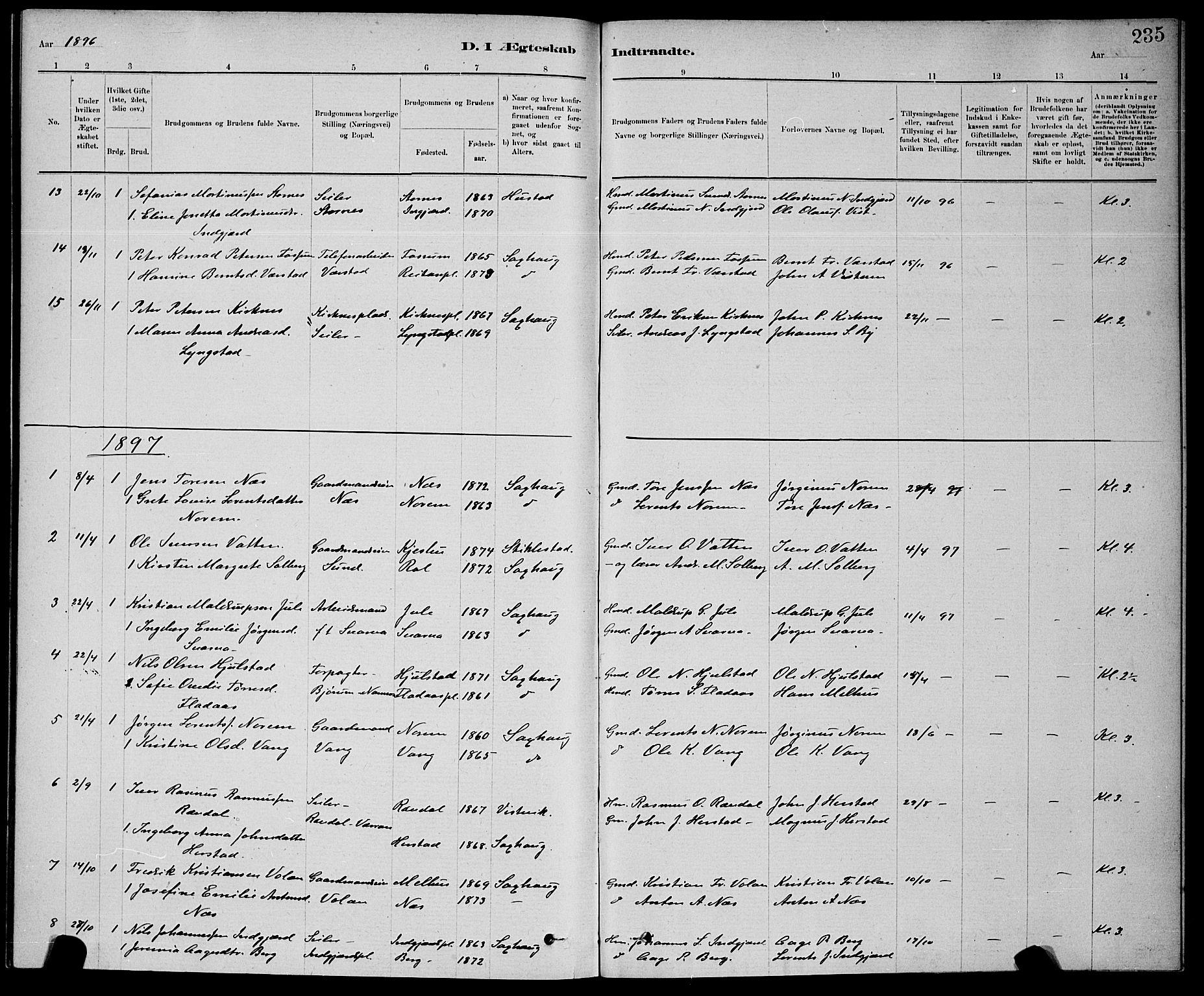 SAT, Ministerialprotokoller, klokkerbøker og fødselsregistre - Nord-Trøndelag, 730/L0301: Klokkerbok nr. 730C04, 1880-1897, s. 235